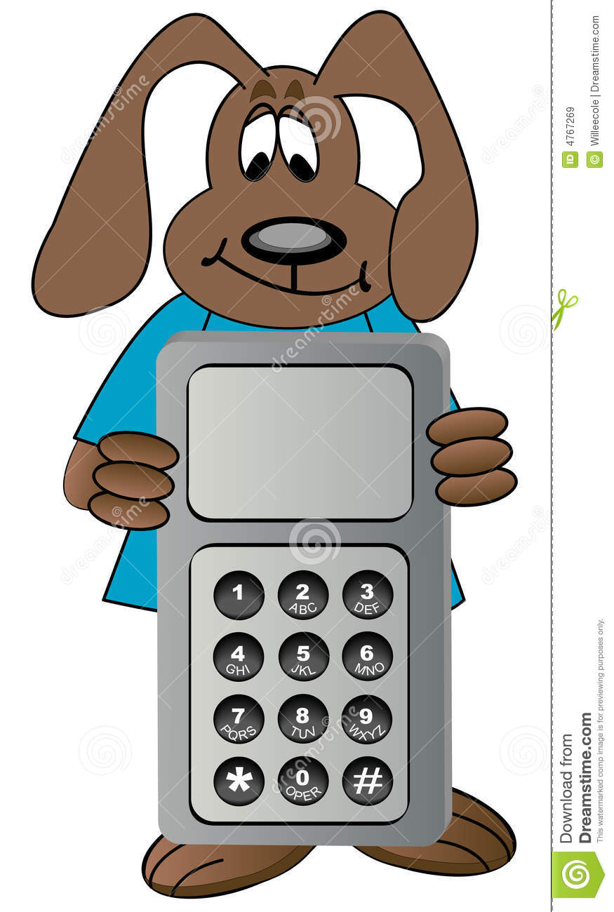 Cartoon Characters Phone Numbers : Cartoon dog with cell phone royalty free stock images