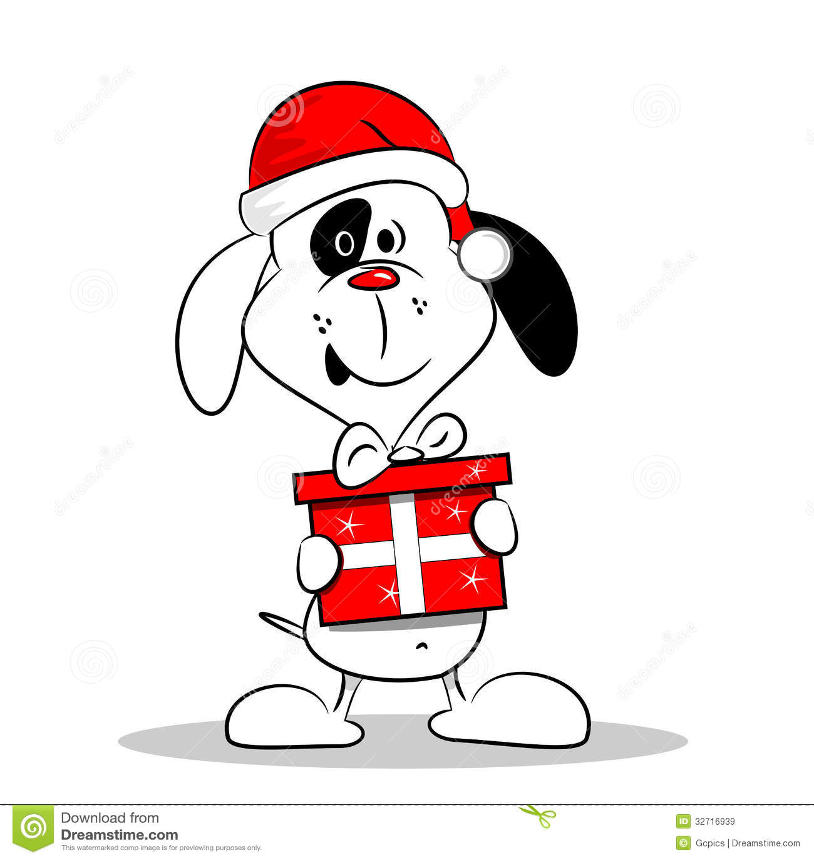 Cartoon dog with christmas gift box stock vector image