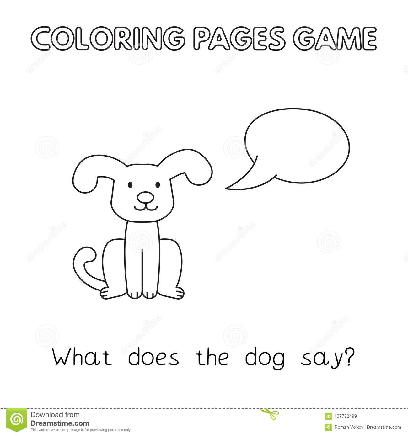 Cartoon Dog Coloring Book stock vector. Illustration of learn ...