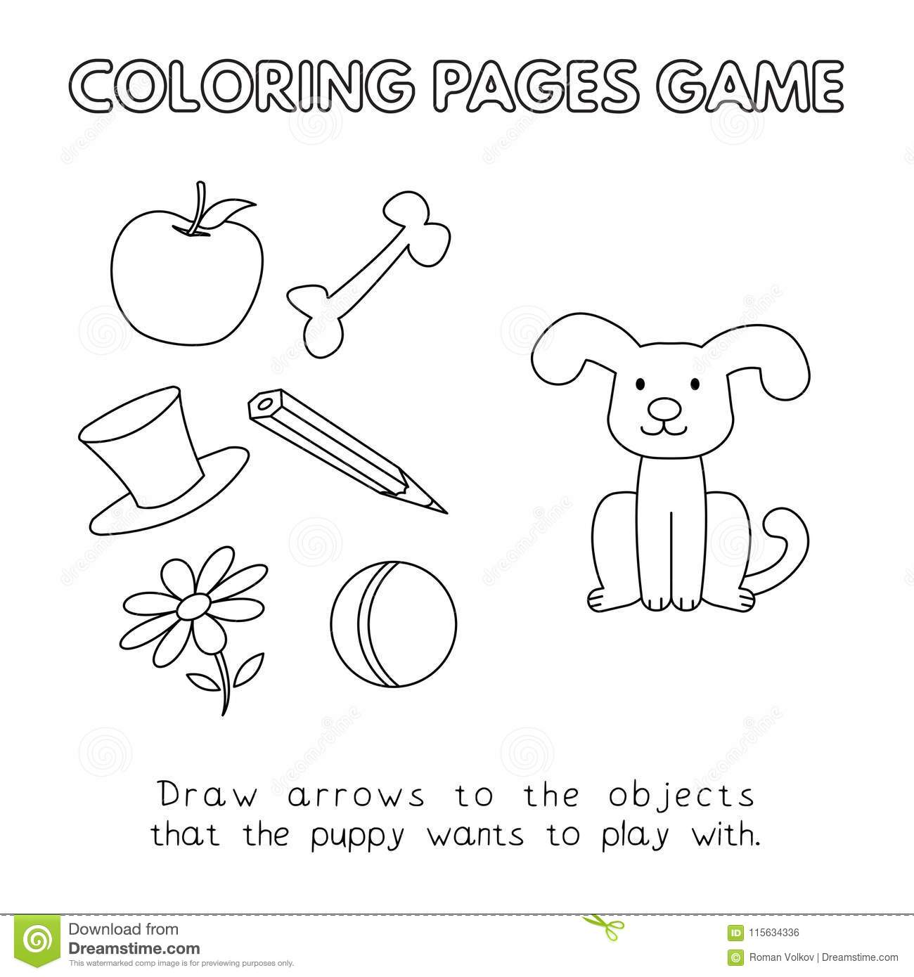 Cartoon Dog Coloring Book stock vector. Illustration of draw - 115634336