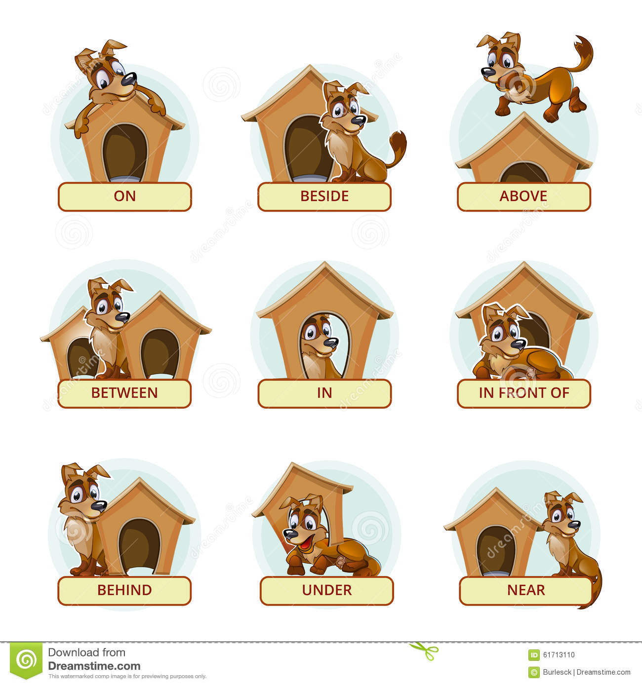 worksheet Spanish Prepositions Worksheet prepositions of place colorful cartoon stock vector image 51841860 dog in different poses to illustrate photo