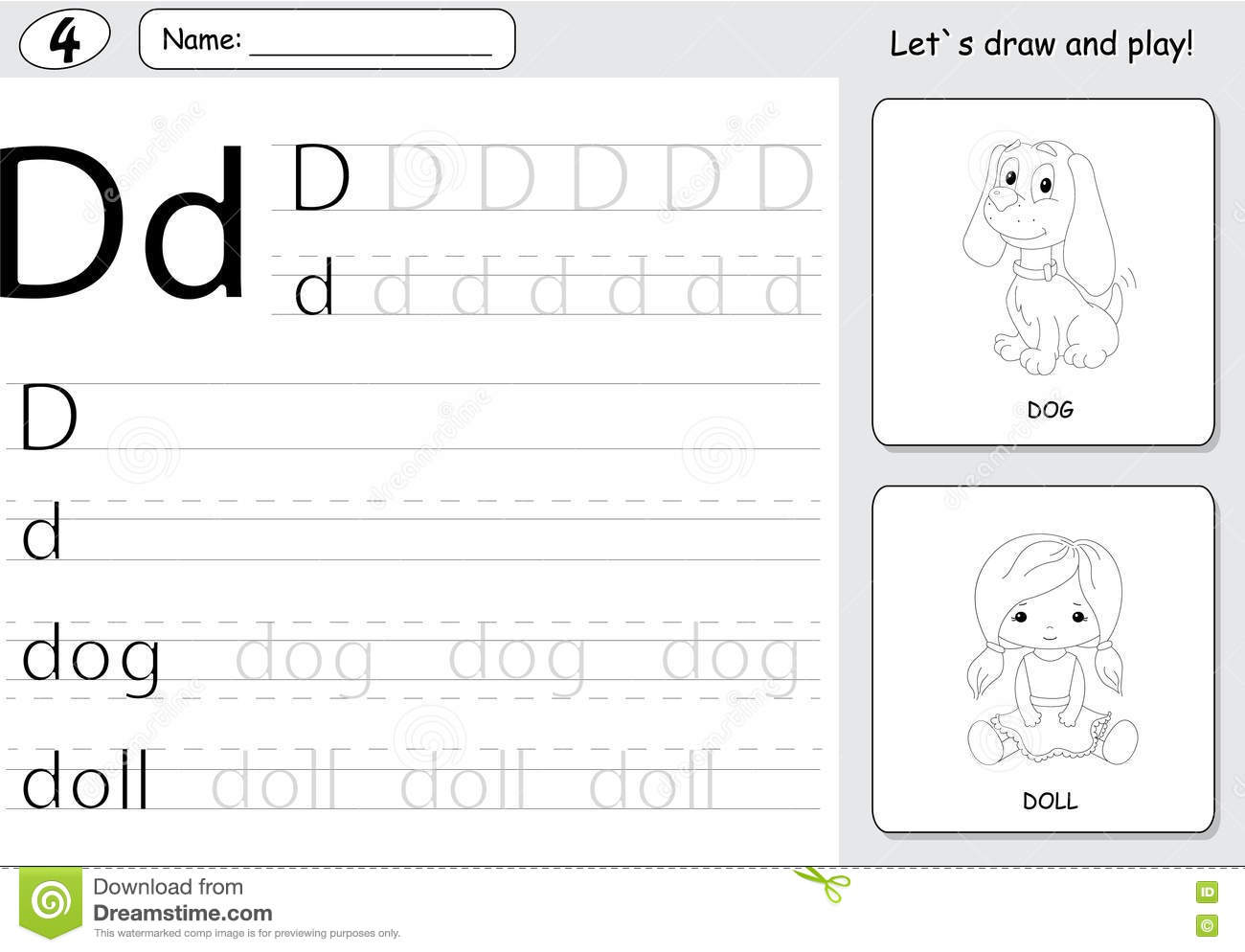 cartoon dog and doll alphabet tracing worksheet writing a z an stock vector illustration of. Black Bedroom Furniture Sets. Home Design Ideas