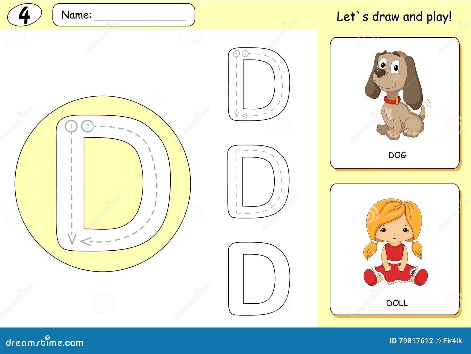 Cartoon Dog And Doll. Alphabet Tracing Worksheet: Writing