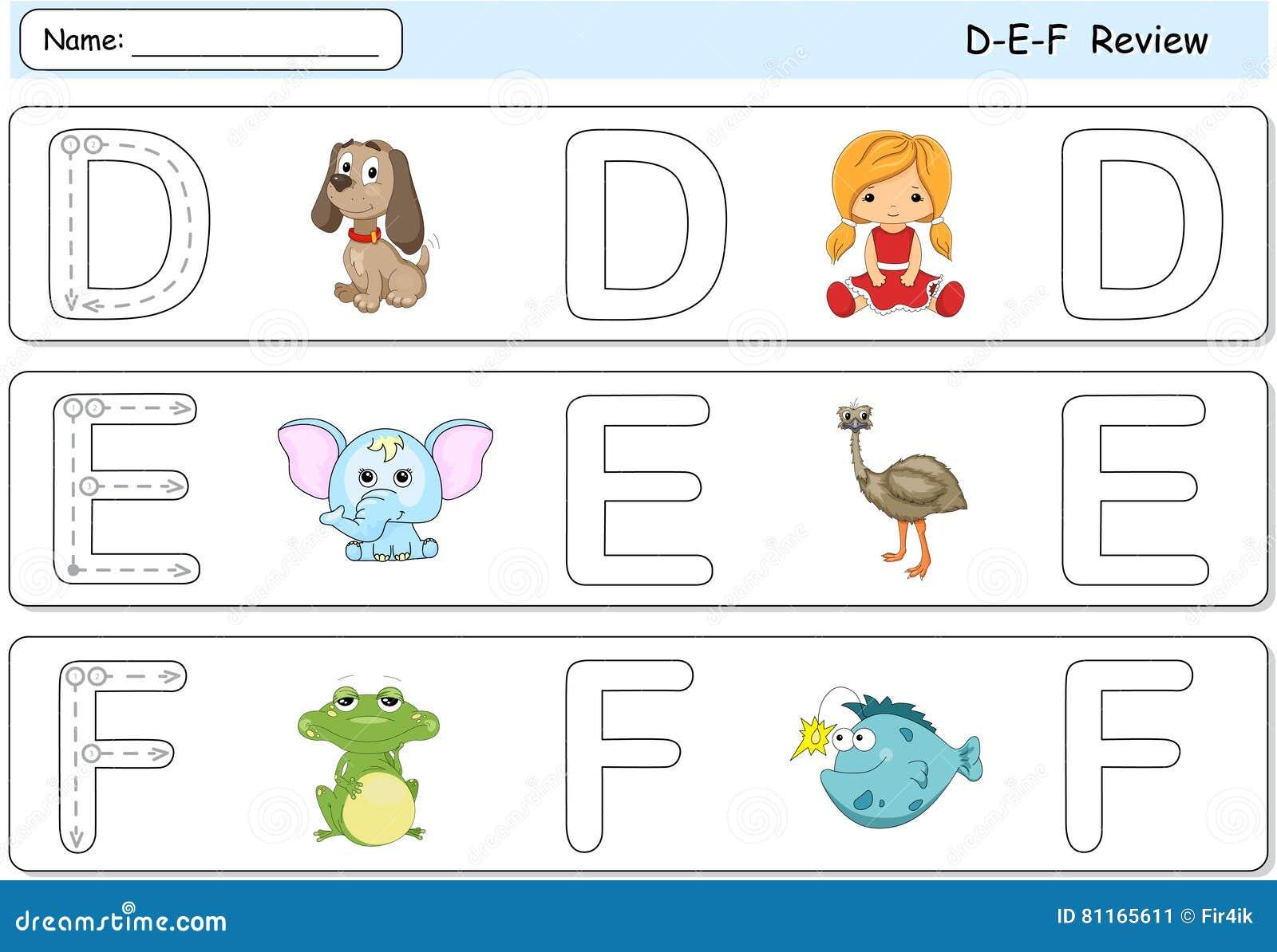 Cartoon Dog, Doll, Elephant, Emu, Frog And Fish. Alphabet ...