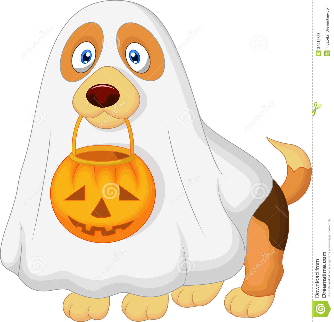 Cartoon Dog Dressed Up As A Spooky Ghost Stock Photos - Image ...