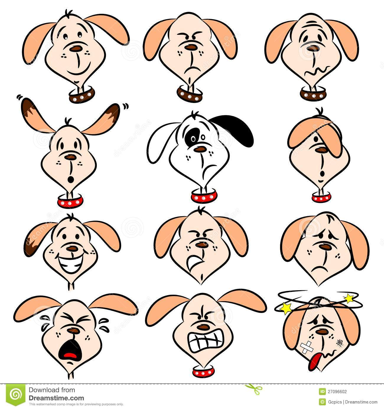 Cartoon Dog Facial Expressions Stock Photography - Image: 27096602