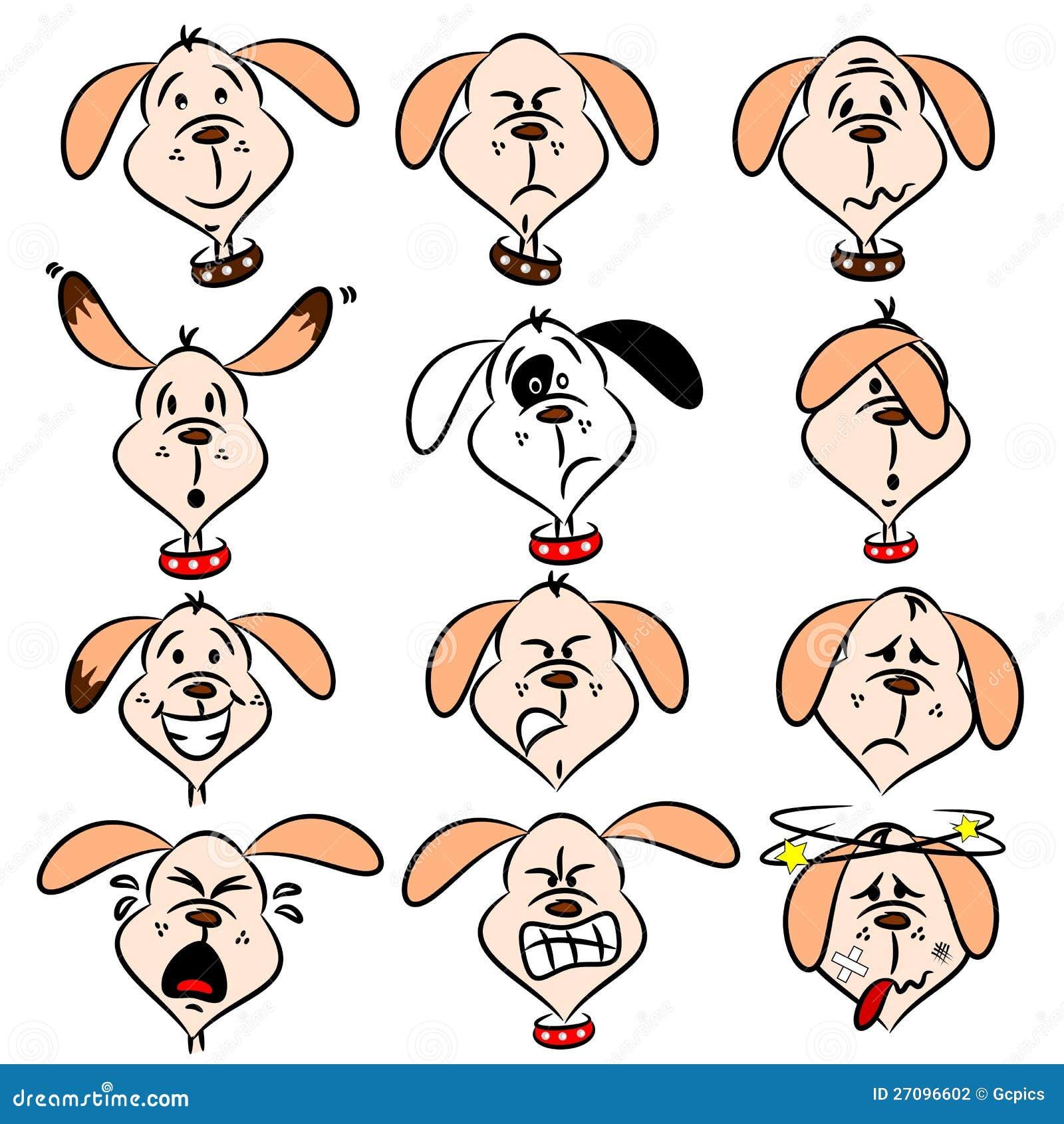 cartoon dog facial expressions stock photography   image