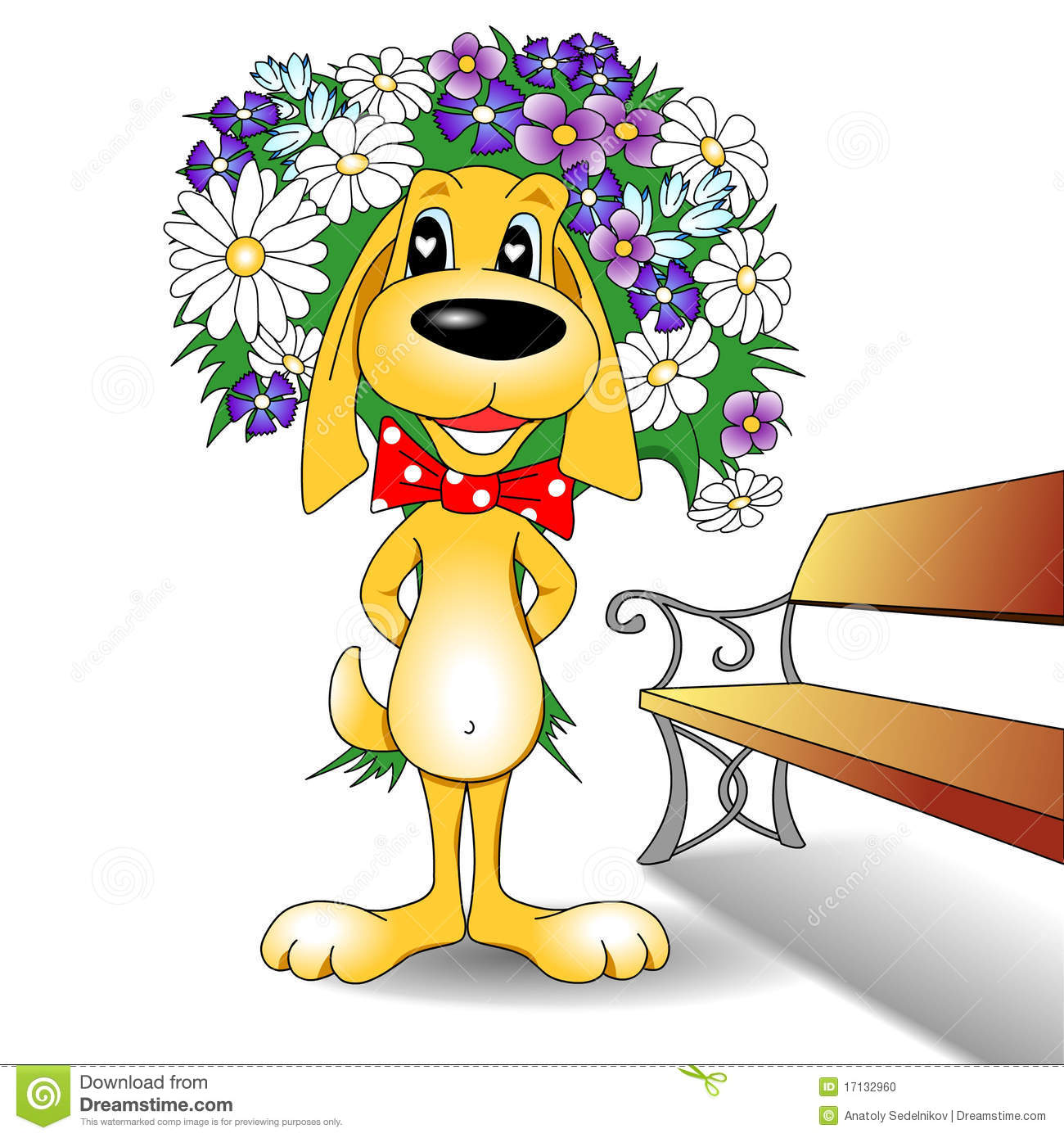 Cartoon Dog And Flower Bouquet Stock Illustration - Illustration of ...