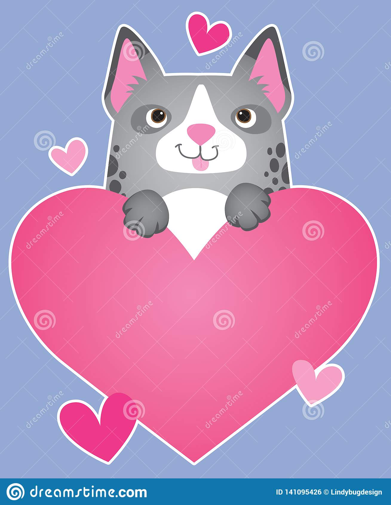 A Cartoon Dog Holding A Heart Stock Illustration ...