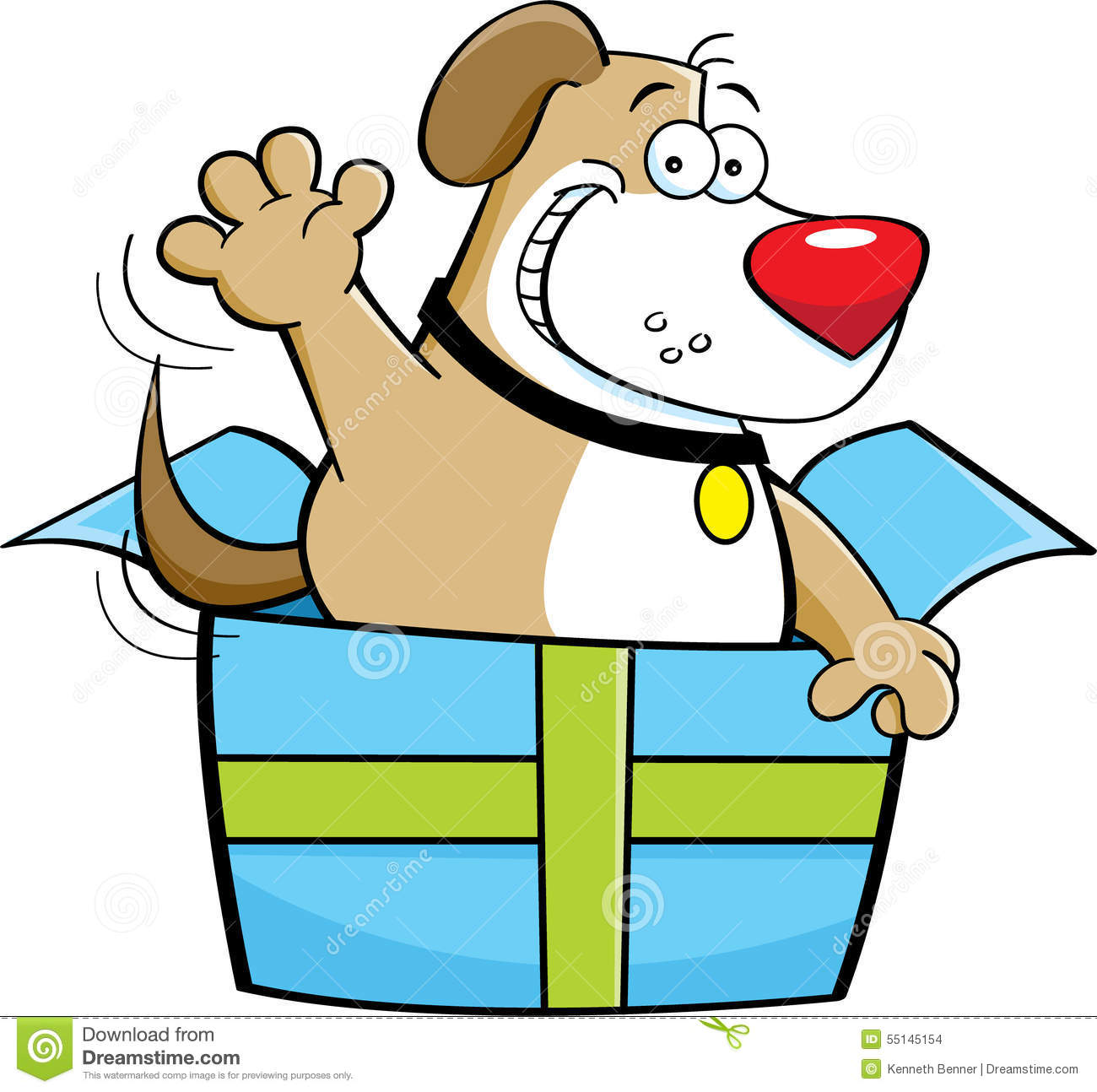 cartoon dog inside a gift box stock vector illustration funny birthday clip art free funny birthday clip art for free