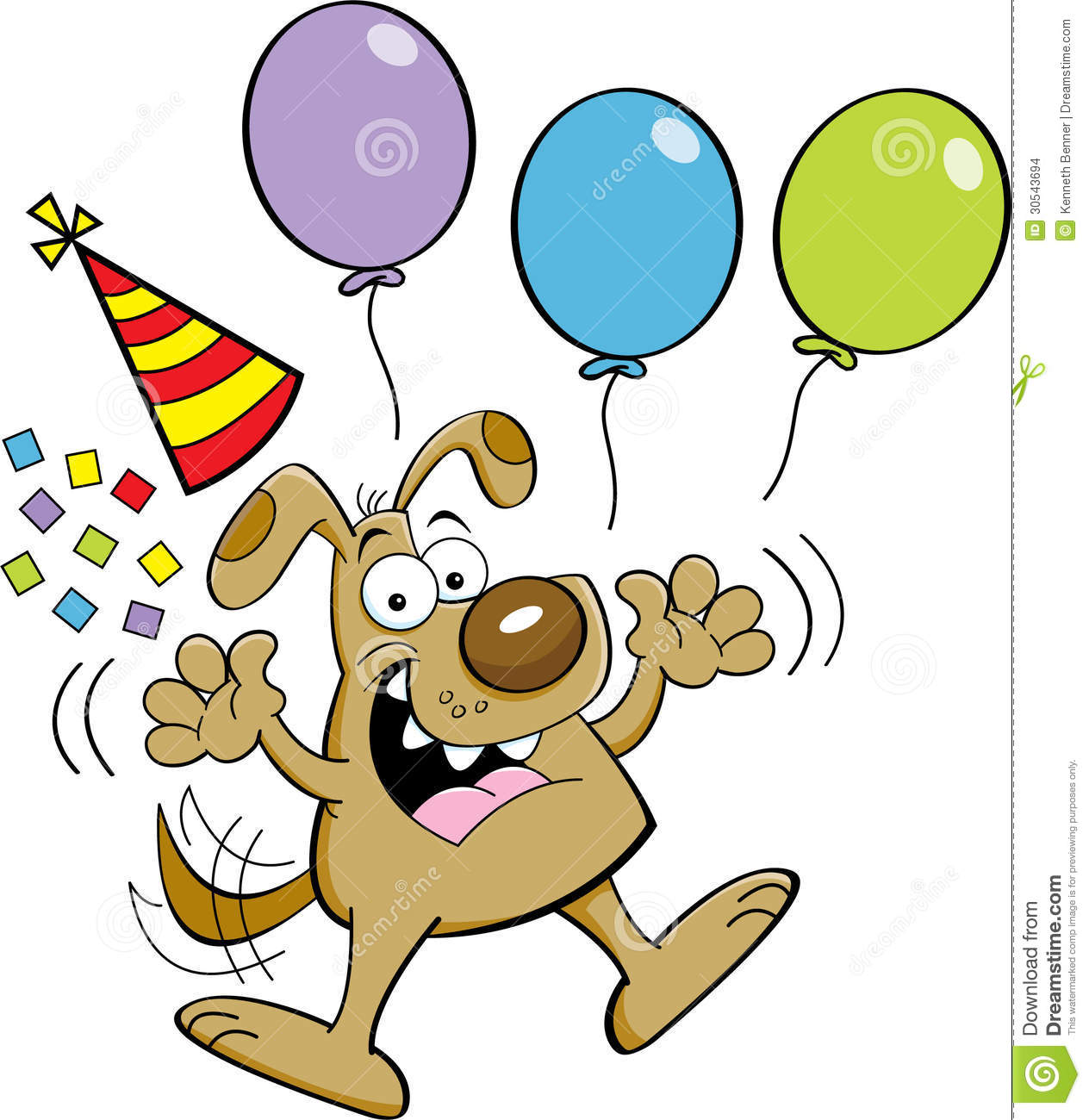 Cartoon illustration of a dog jumping with balloons and a party hat.