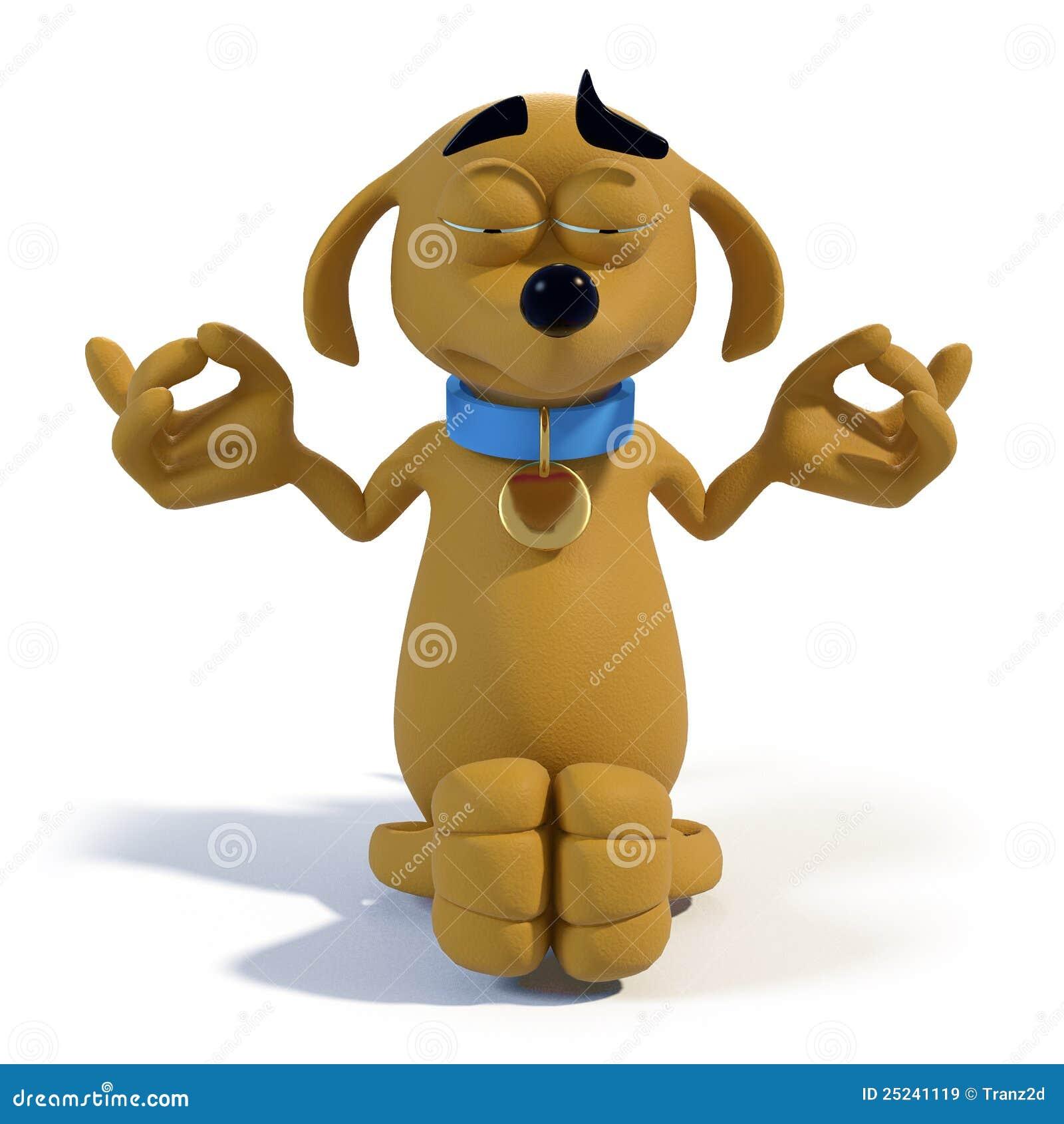 cartoon dog meditating royalty free stock images
