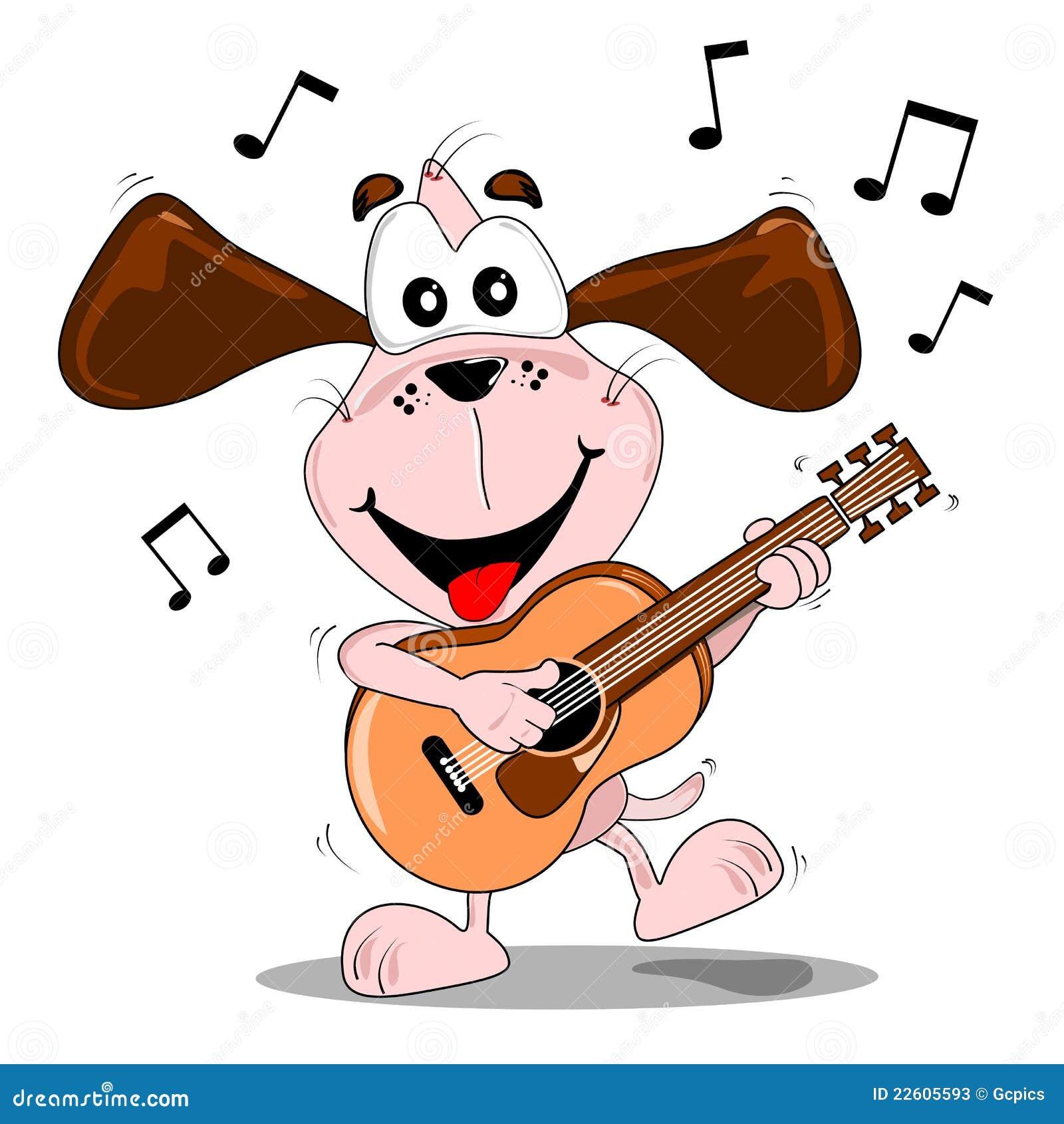 a cartoon dog playing a guitar