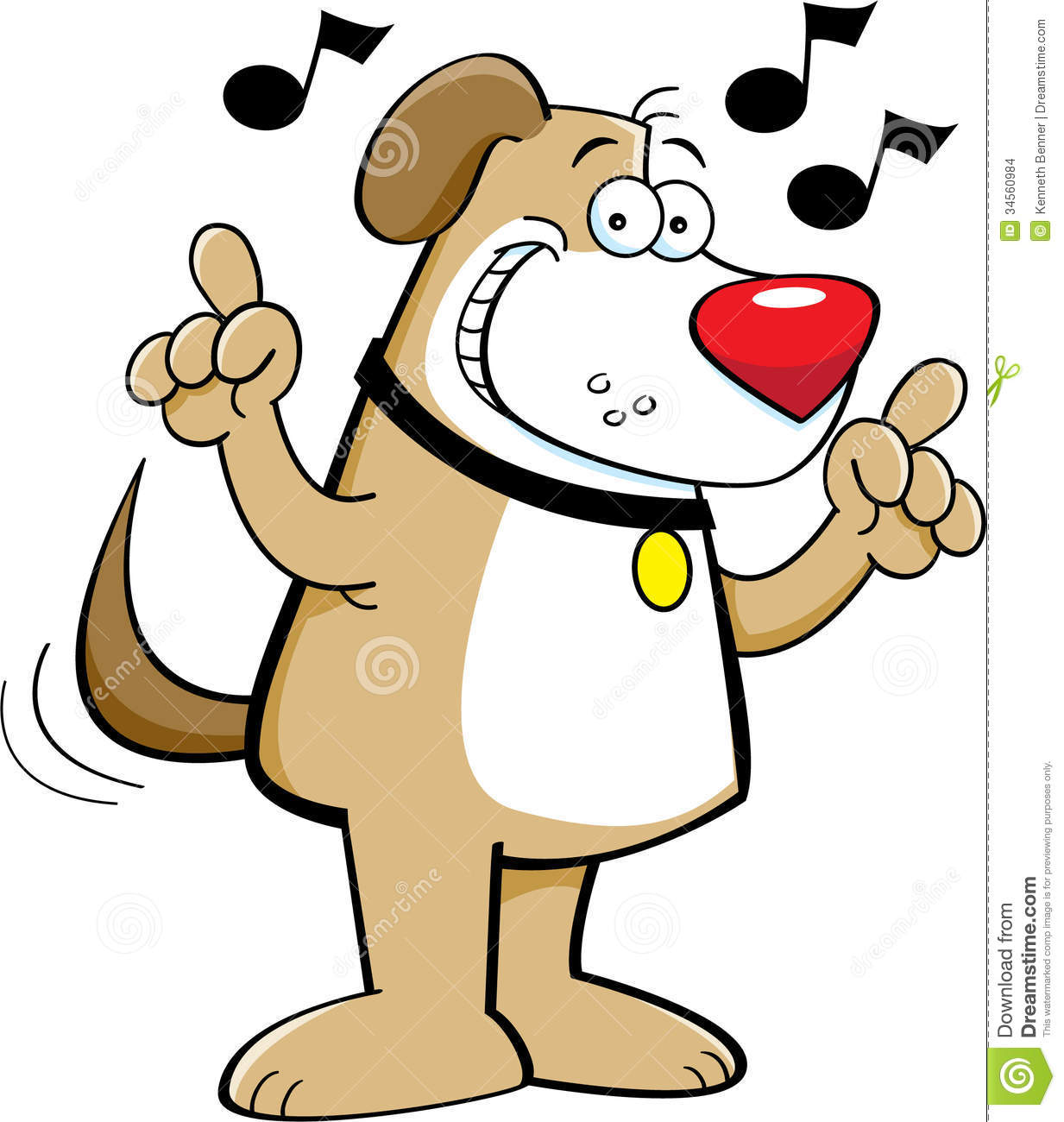 Cartoon Dog Singing Stock Images Image 34560984