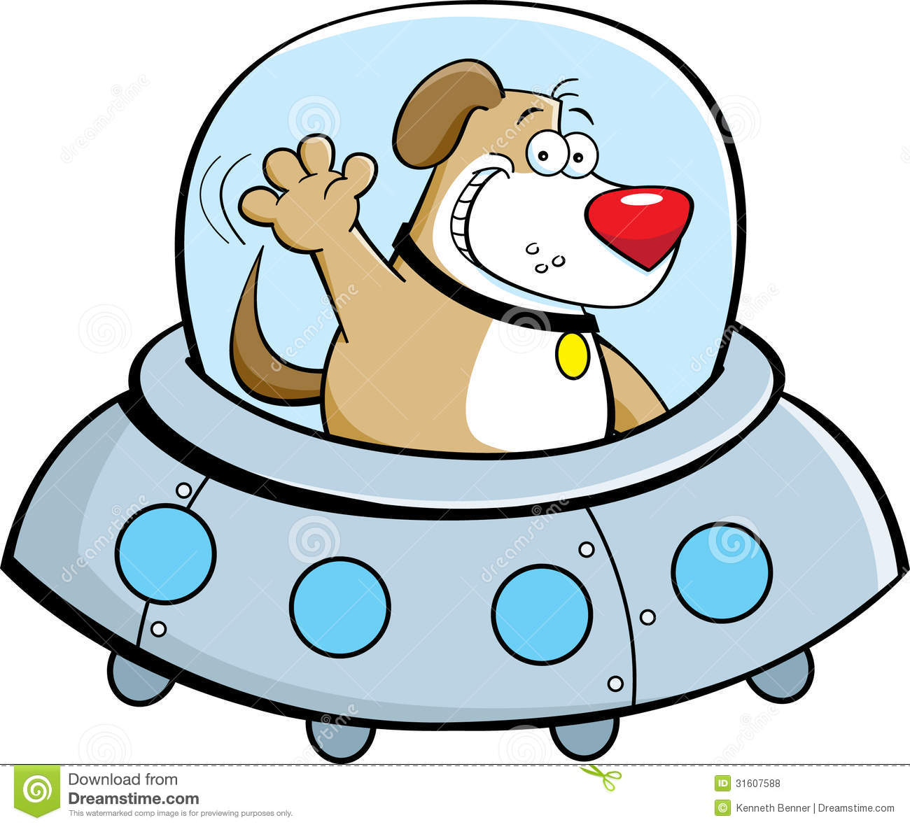 Cartoon Dog In A Spaceship Royalty Free Stock Photos - Image: 31607588
