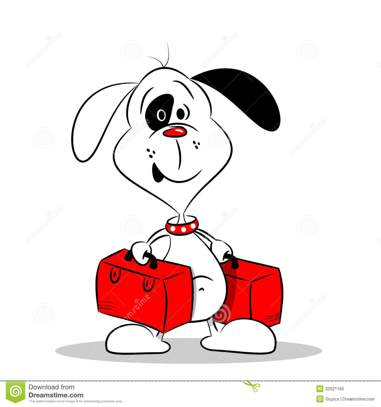 A Cartoon Dog With Suitcases Royalty Free Stock Photo