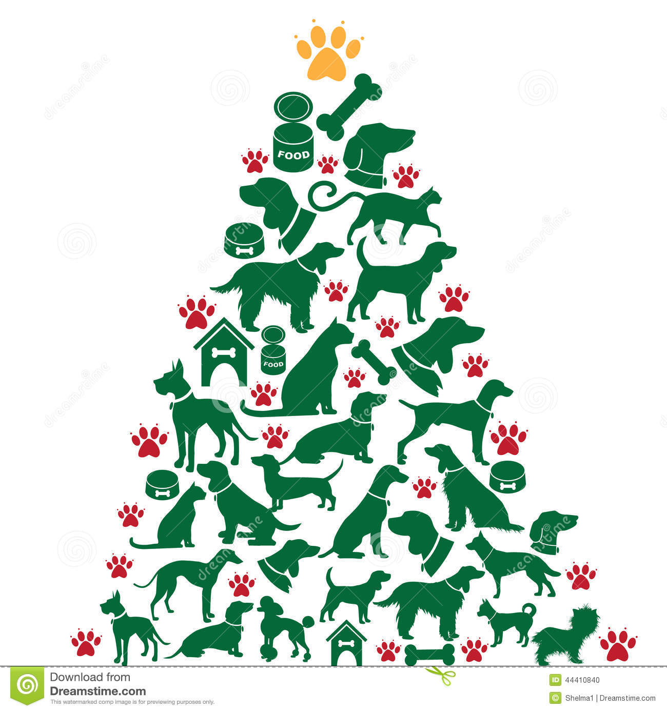 Cartoon Dogs And Cats Christmas Tree