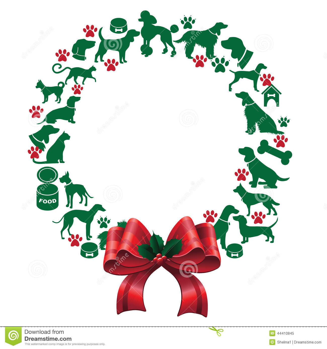 Cartoon Dogs And Cats Christmas Wreath Stock Vector Illustration