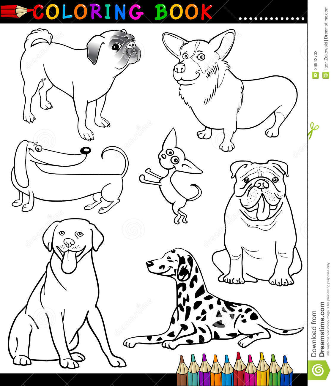 Cartoon Dogs For Coloring Book Or Page Stock Vector - Illustration ...