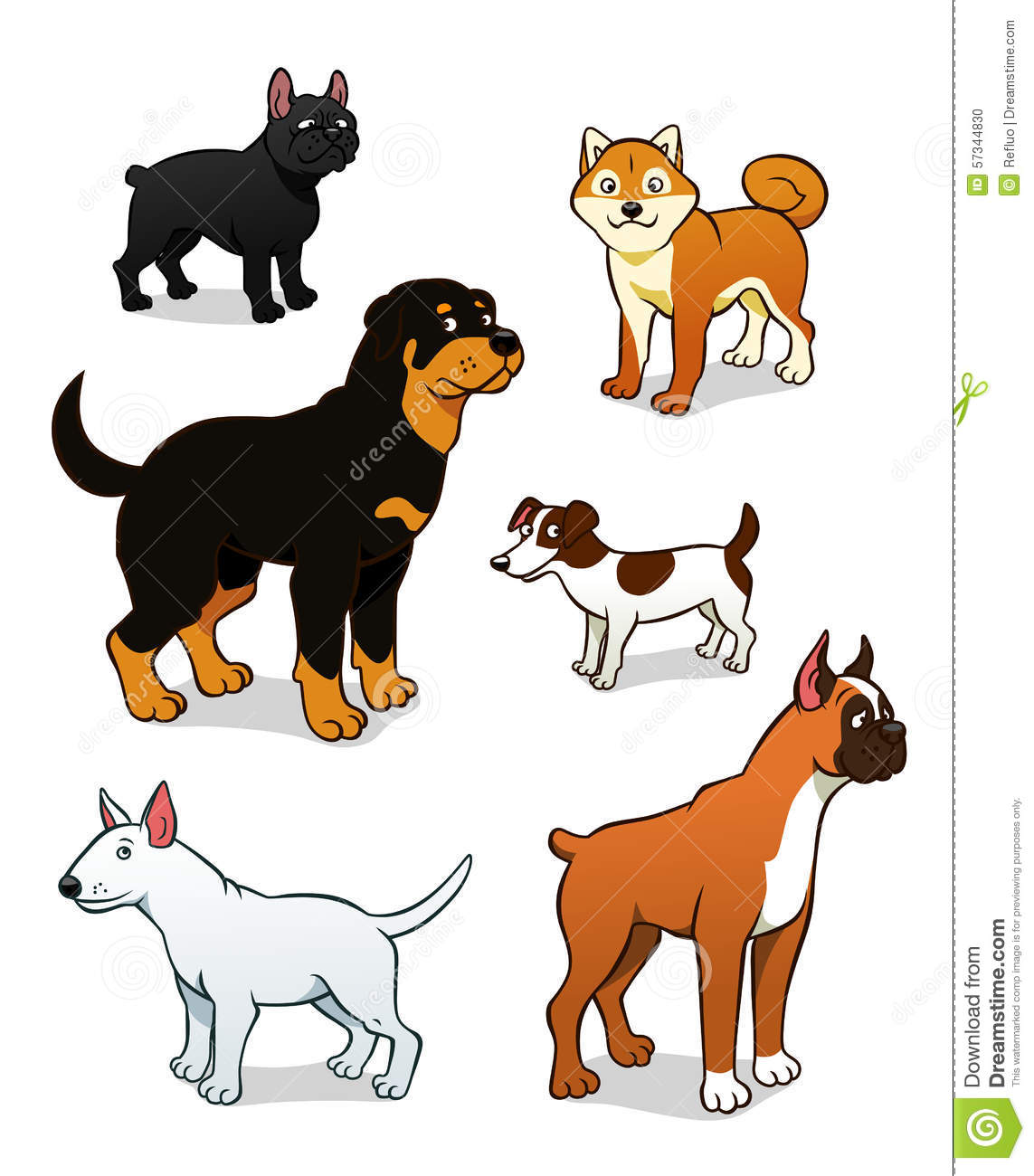 Cartoon Dogs Set Two Stock Vector Image 57344830