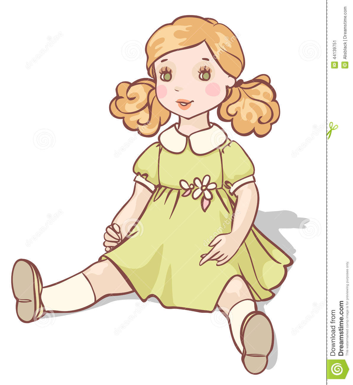 Cartoon Doll In A Green Dress Stock Vector - Image: 44139751