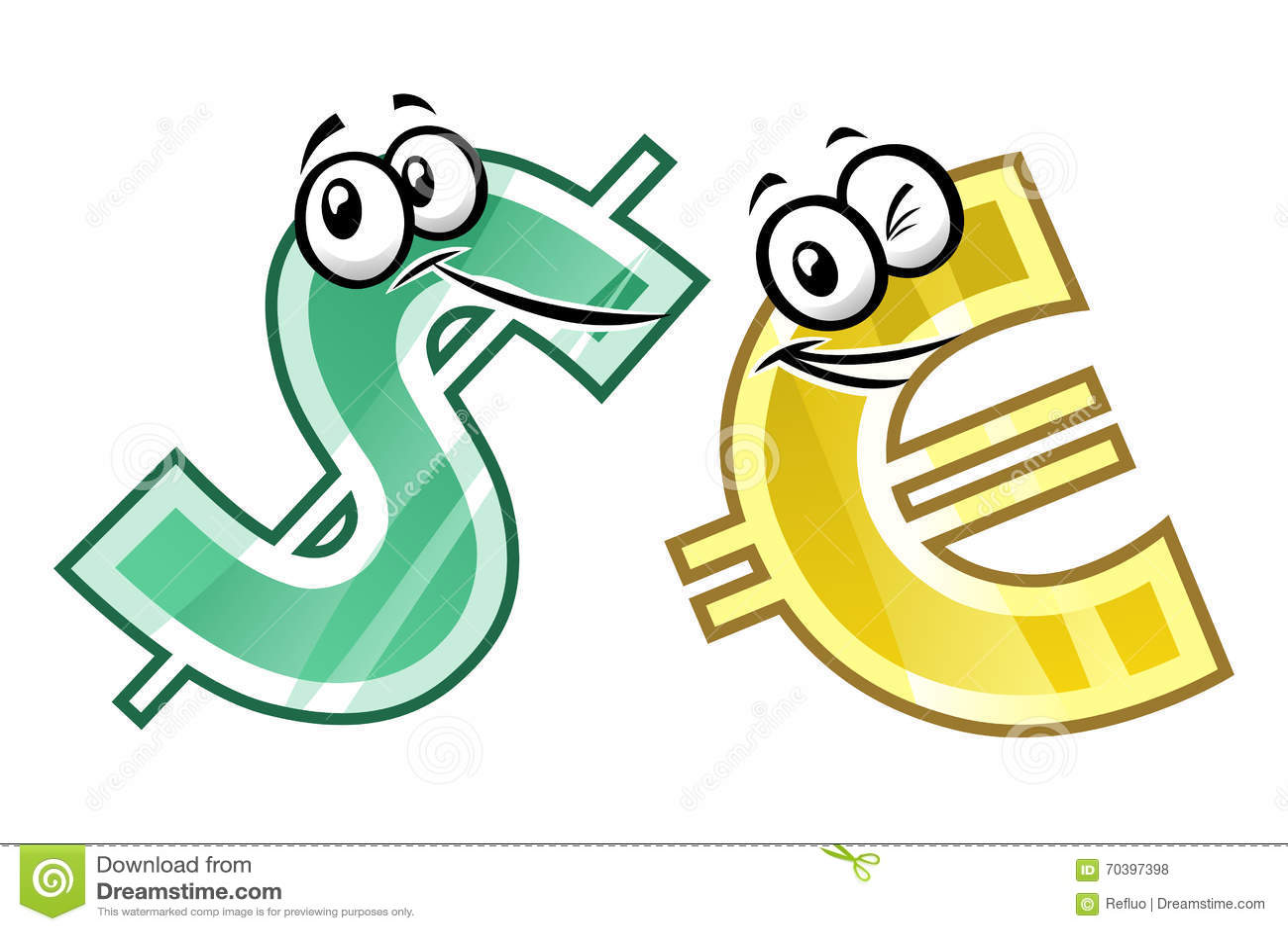 Cartoon Dollar And Euro Stock Vector Illustration Of Cash 70397398