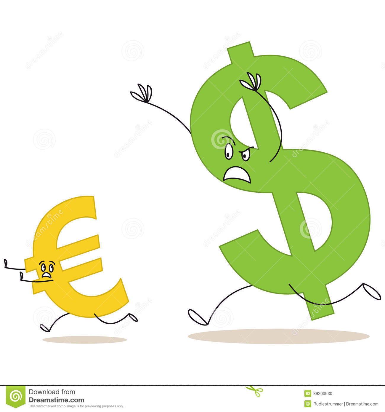 Cartoon Dollar Sign Chasing Euro Sign Stock Vector Illustration Of