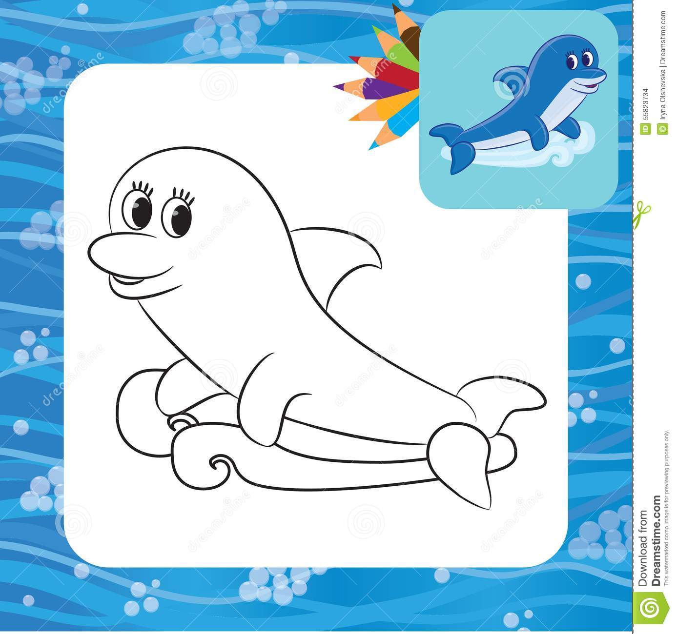 Cartoon Dolphin Coloring Page Stock Vector Illustration Of Mammal