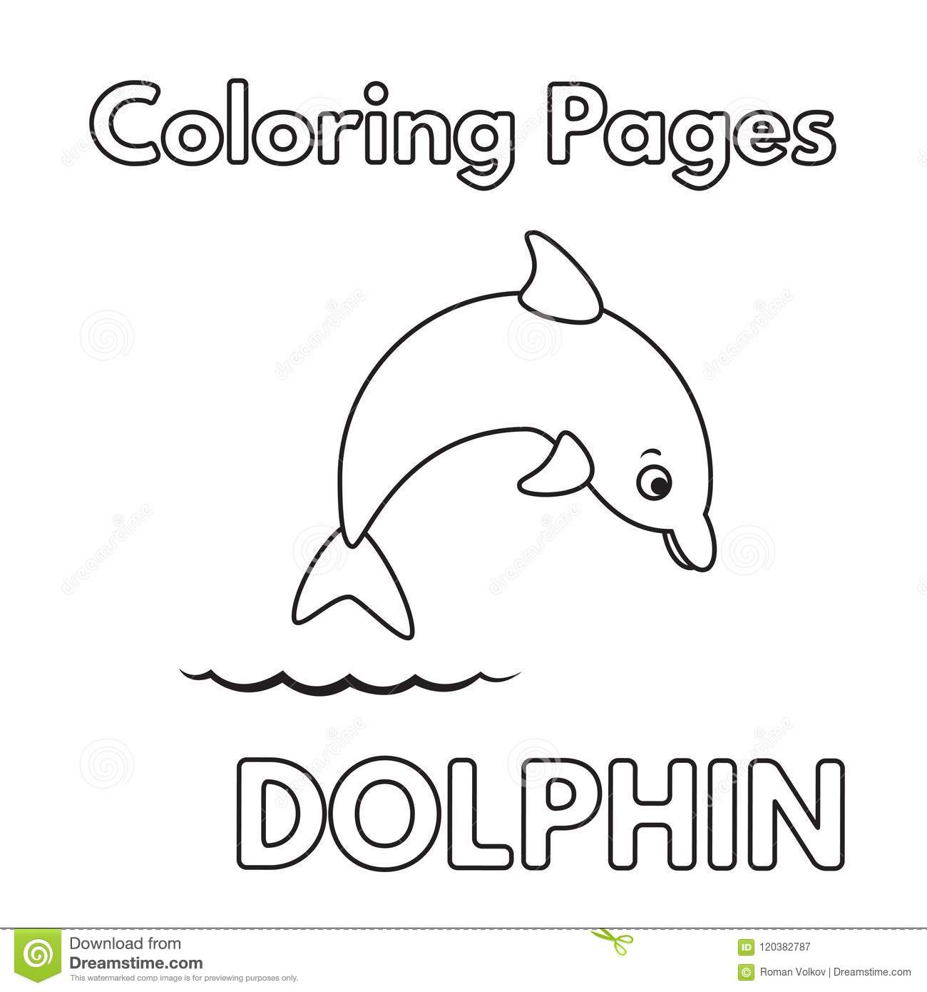 Cartoon Dolphin Coloring Book Stock Vector Illustration Of Graphic