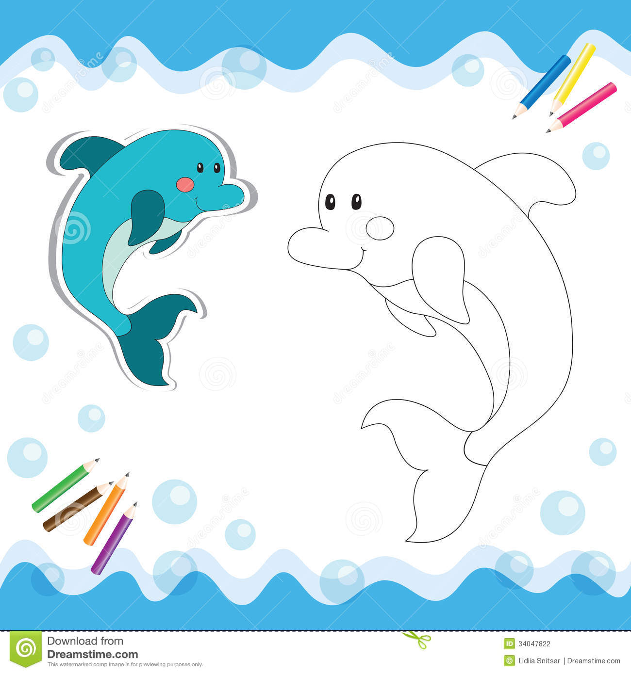 Cartoon dolphin isolated on white. Coloring book. Vector illustration.