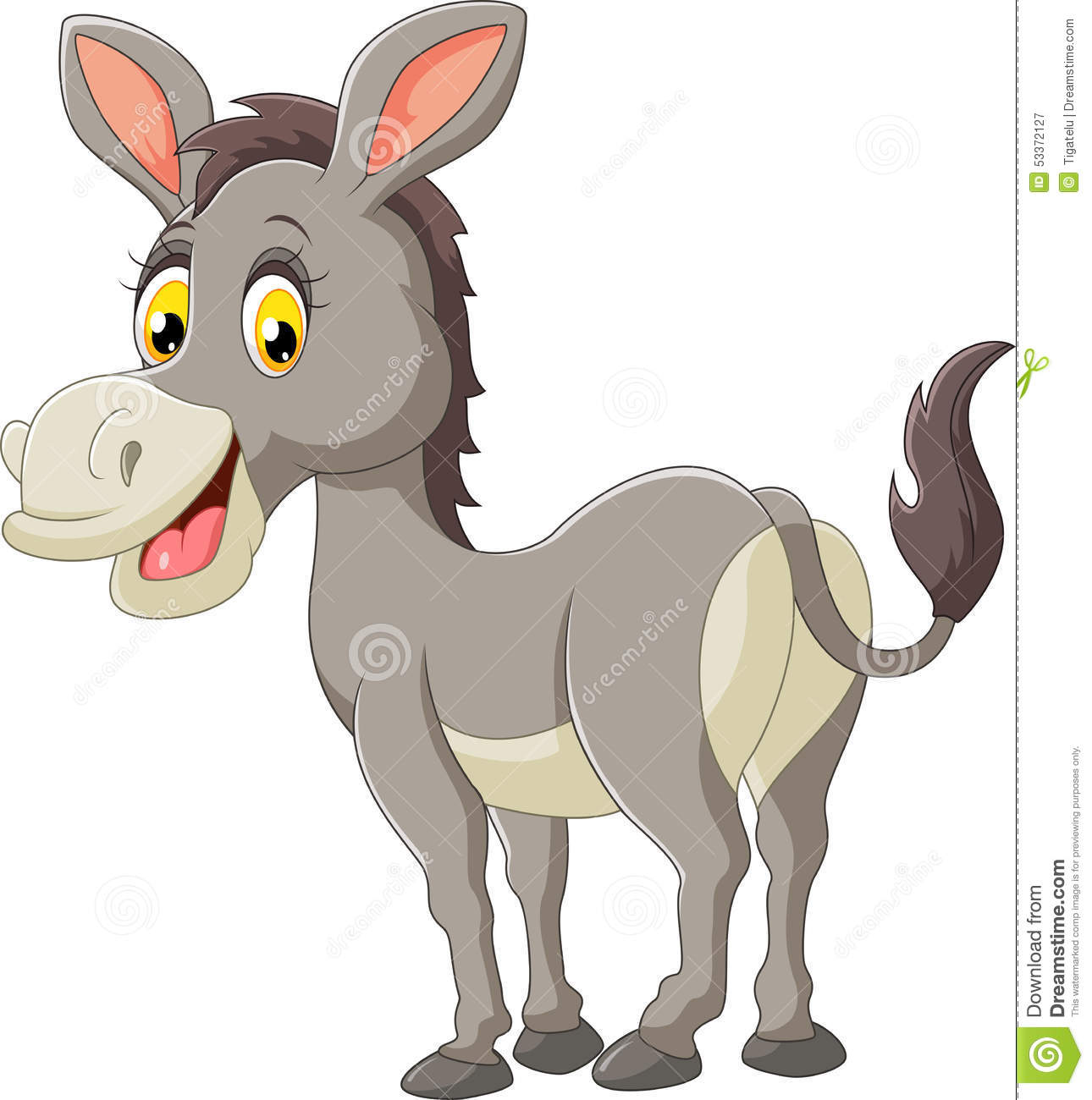 Cartoon Donkey Happy Stock Vector. Illustration Of Funny