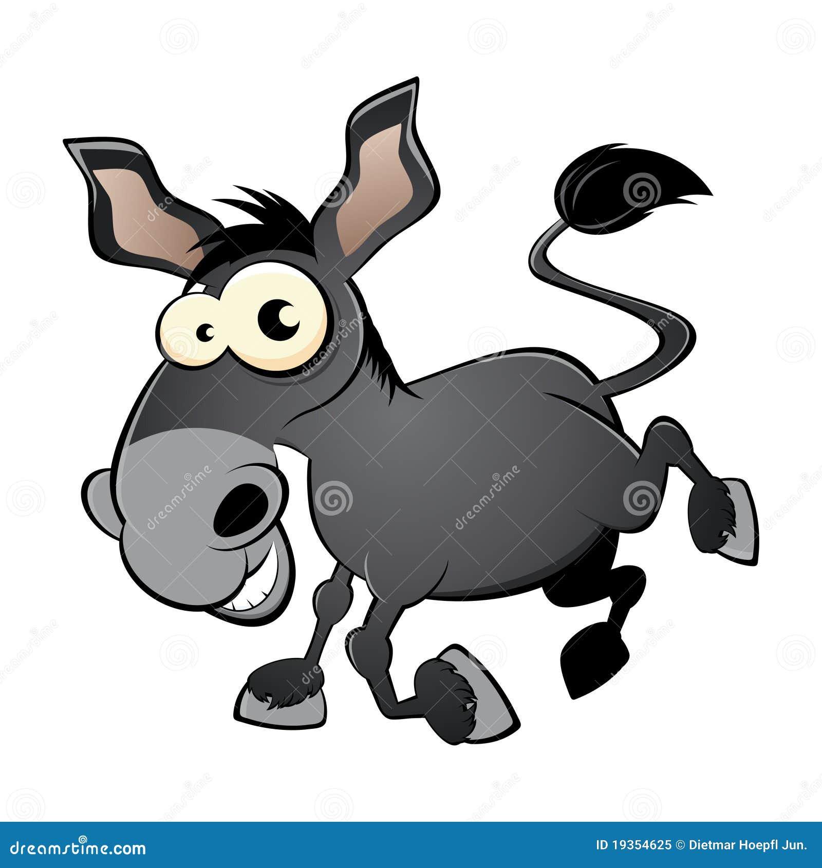 Cartoon illustration of kicking donkey or mule; isolated on white ...