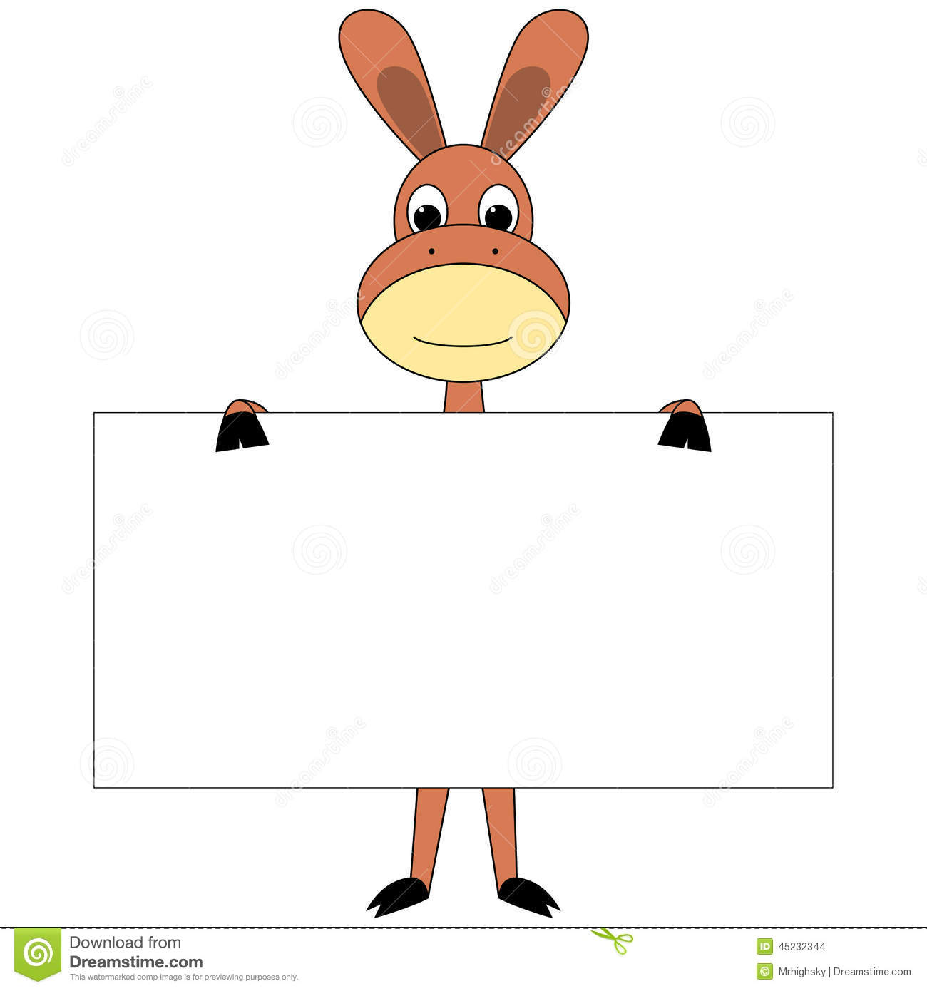 Stock Illustration Cartoon Donkey Sign Board Vector Illustration Holding Empty Image45232344 on Sounds Of Farm Animals