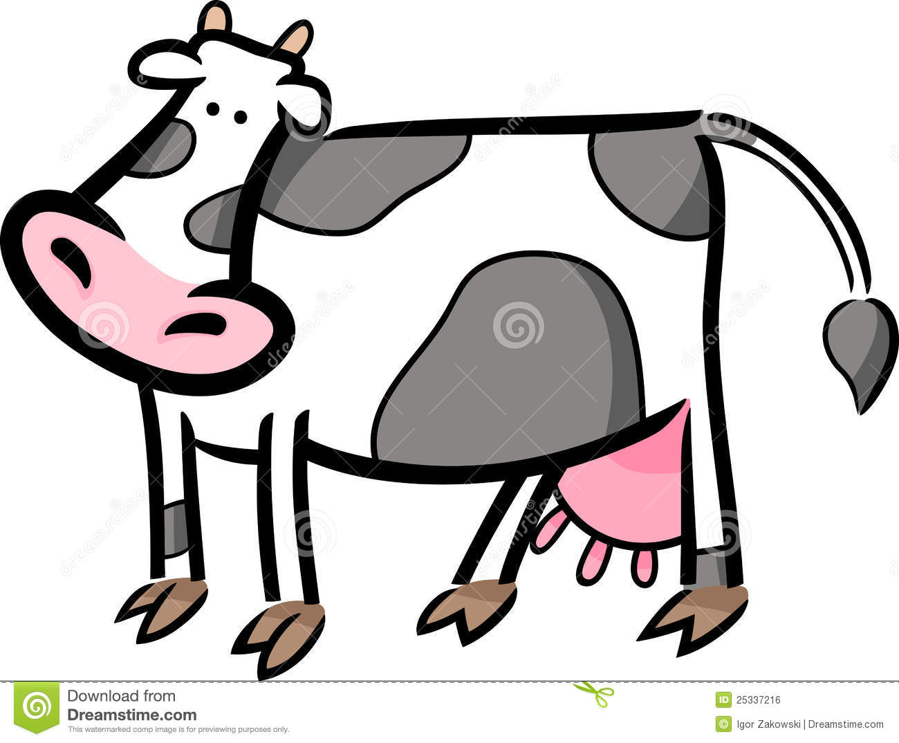 Cartoon doodle of farm cow stock vector. Illustration of drawing - 25337216
