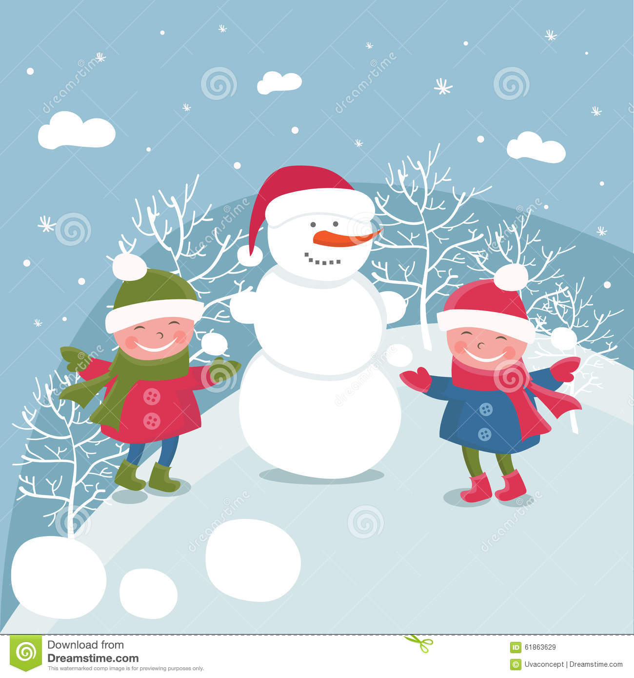 41a810490bed Cartoon Doodle Girls In Winter.Vector Stock Vector - Illustration of ...