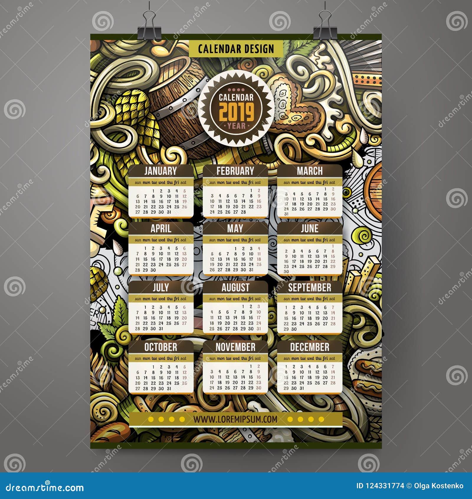 Beer Festival Calendar 2019 Cartoon Doodles Beer Fest 2019 Year Calendar Template. English