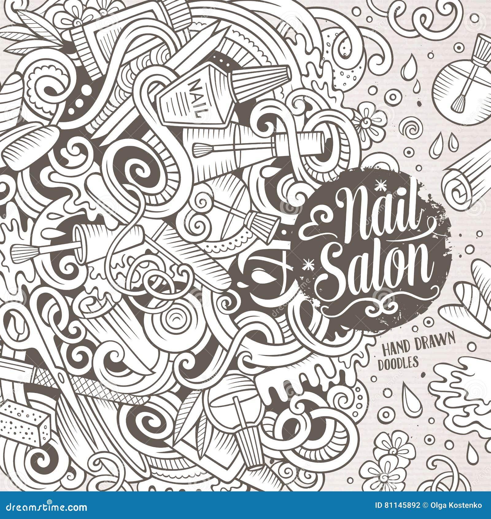 Cartoon Doodles Nail Salon Frame Design Stock Vector - Illustration ...