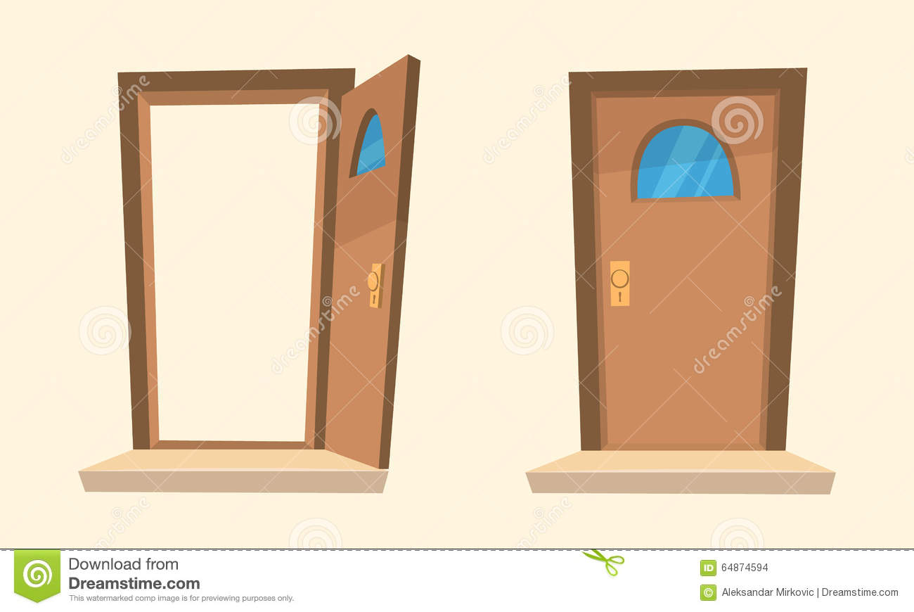 Open door closed door - Cartoon Closed Door Illustration Open
