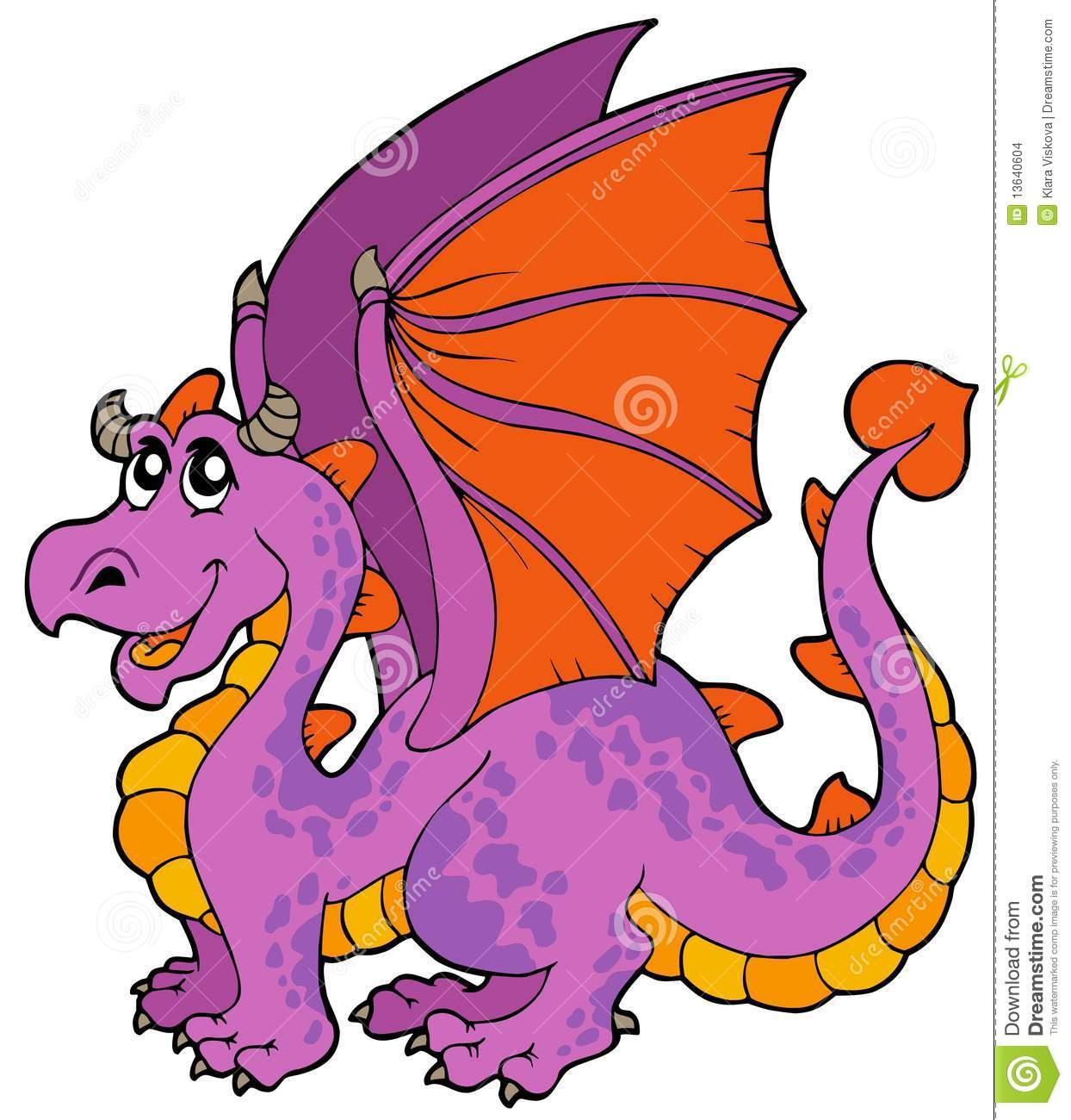 Cartoon Dragon With Big Wings Stock Vector