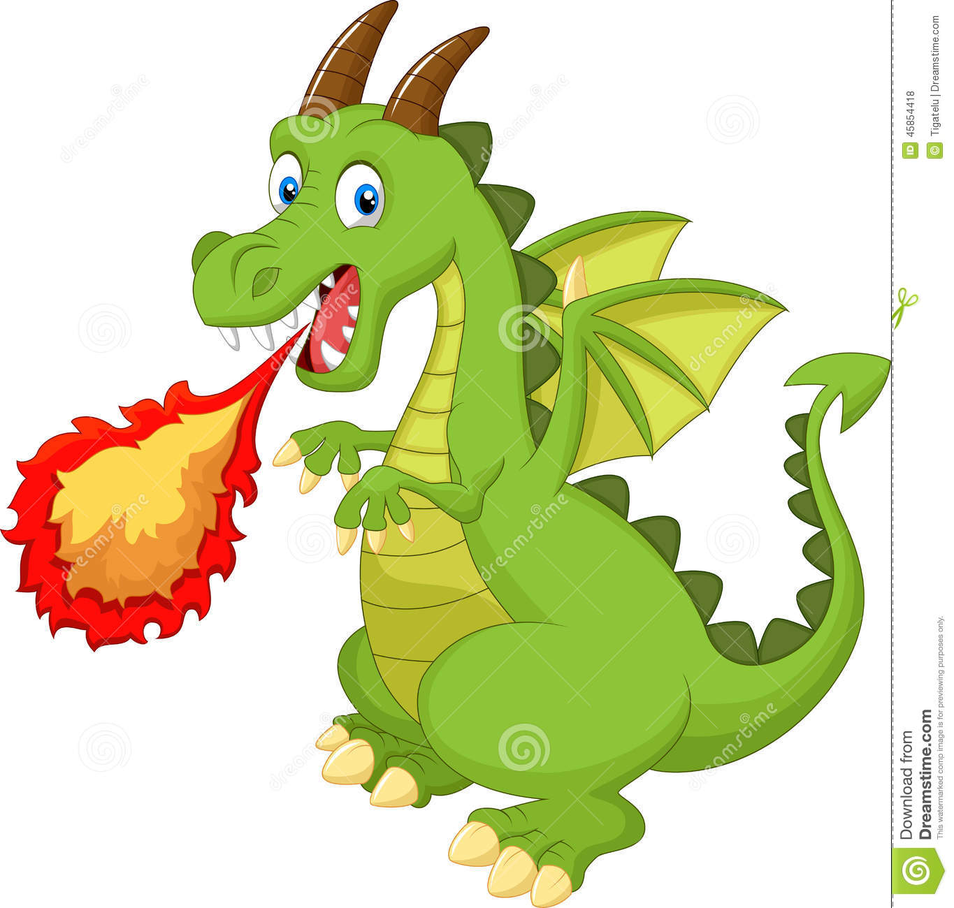 6472c21267e4 Cartoon dragon with fire stock vector. Illustration of medieval ...