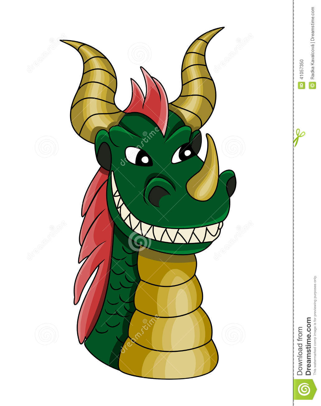 Dragon With Red Spiked Hair And Horns Fantasy Creature Design