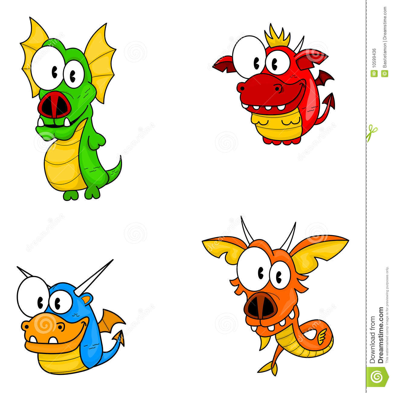Cartoon Dragons Royalty Free Stock Image - Image: 10599436