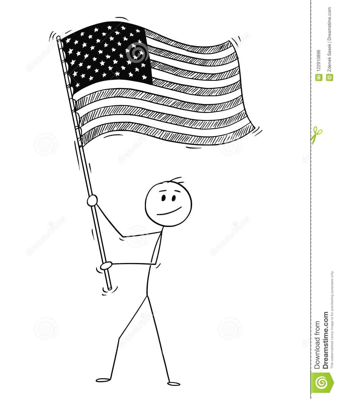 Cartoon Of Man Waving The Flag Of United States Of America Or Usa