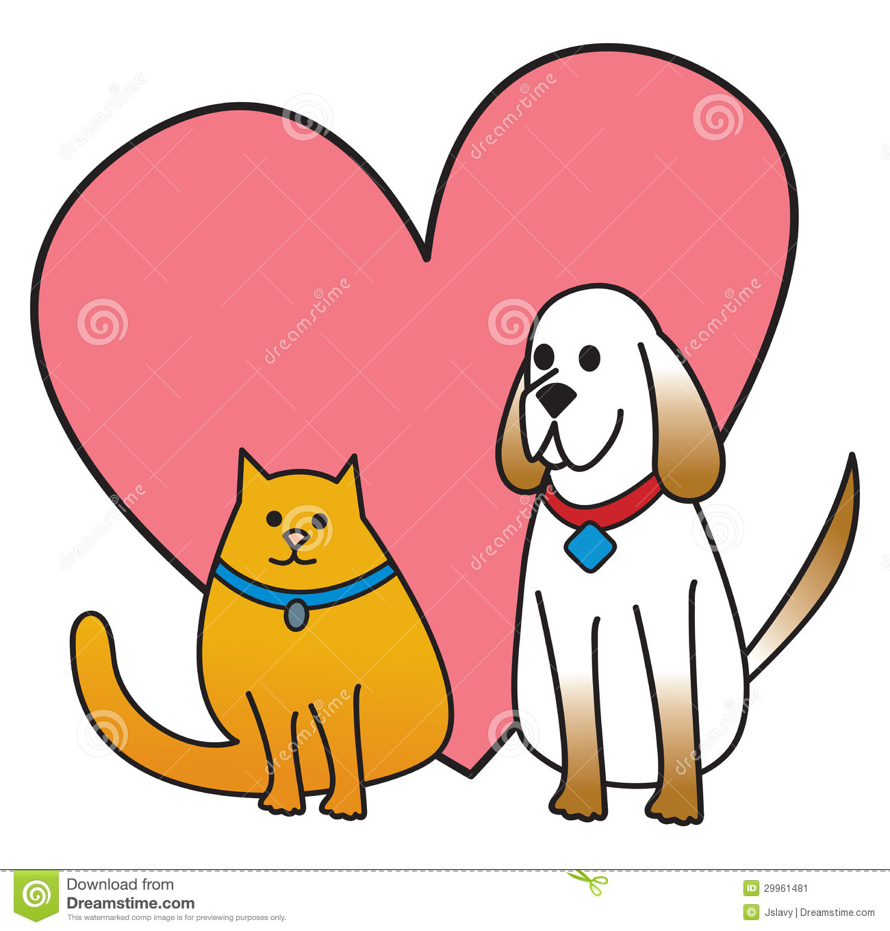 Dog And Cat With Heart Stock Vector Illustration Of February 29961481