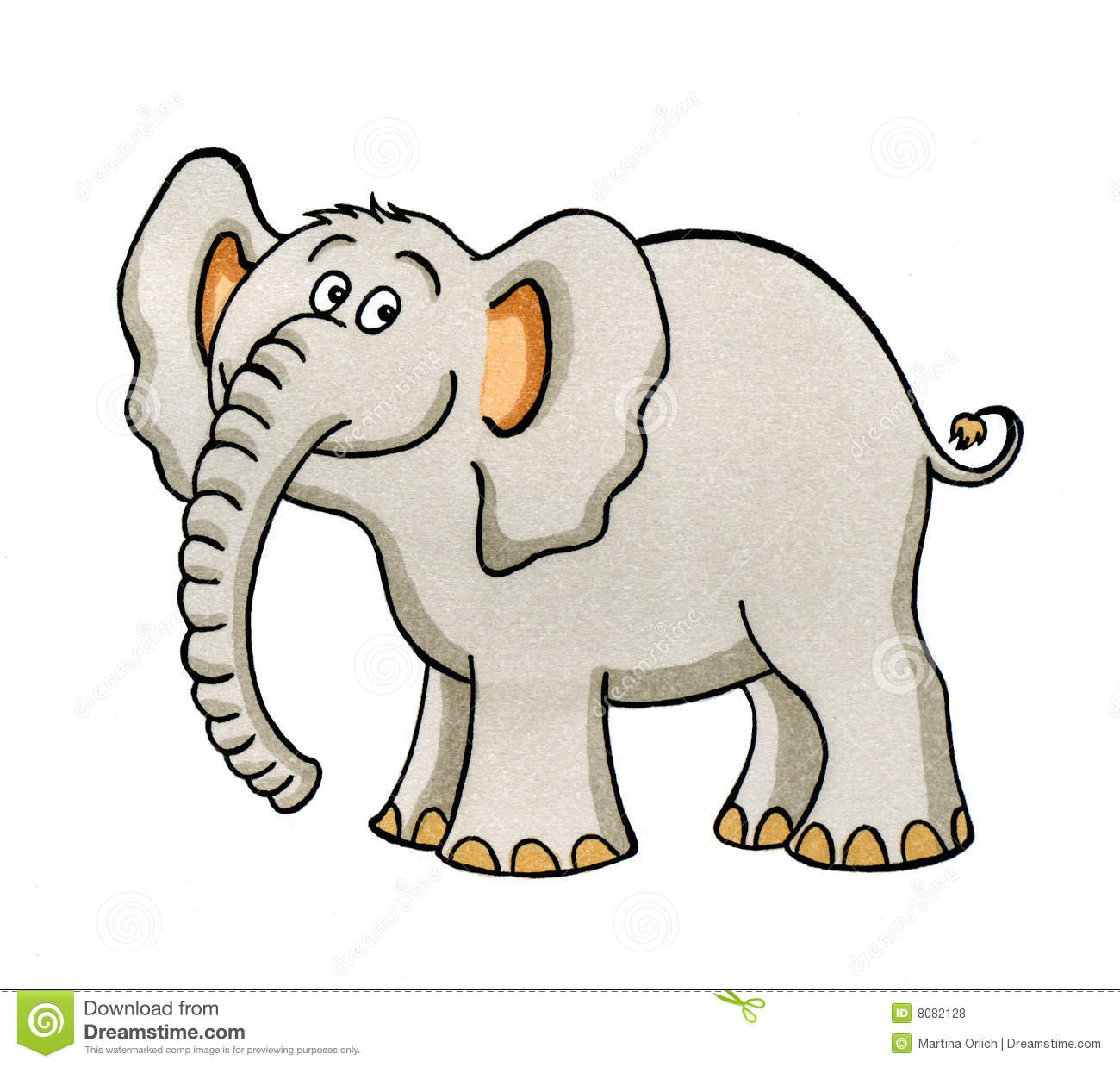 Cartoon Drawing Of A Little Elephant Stock Illustration