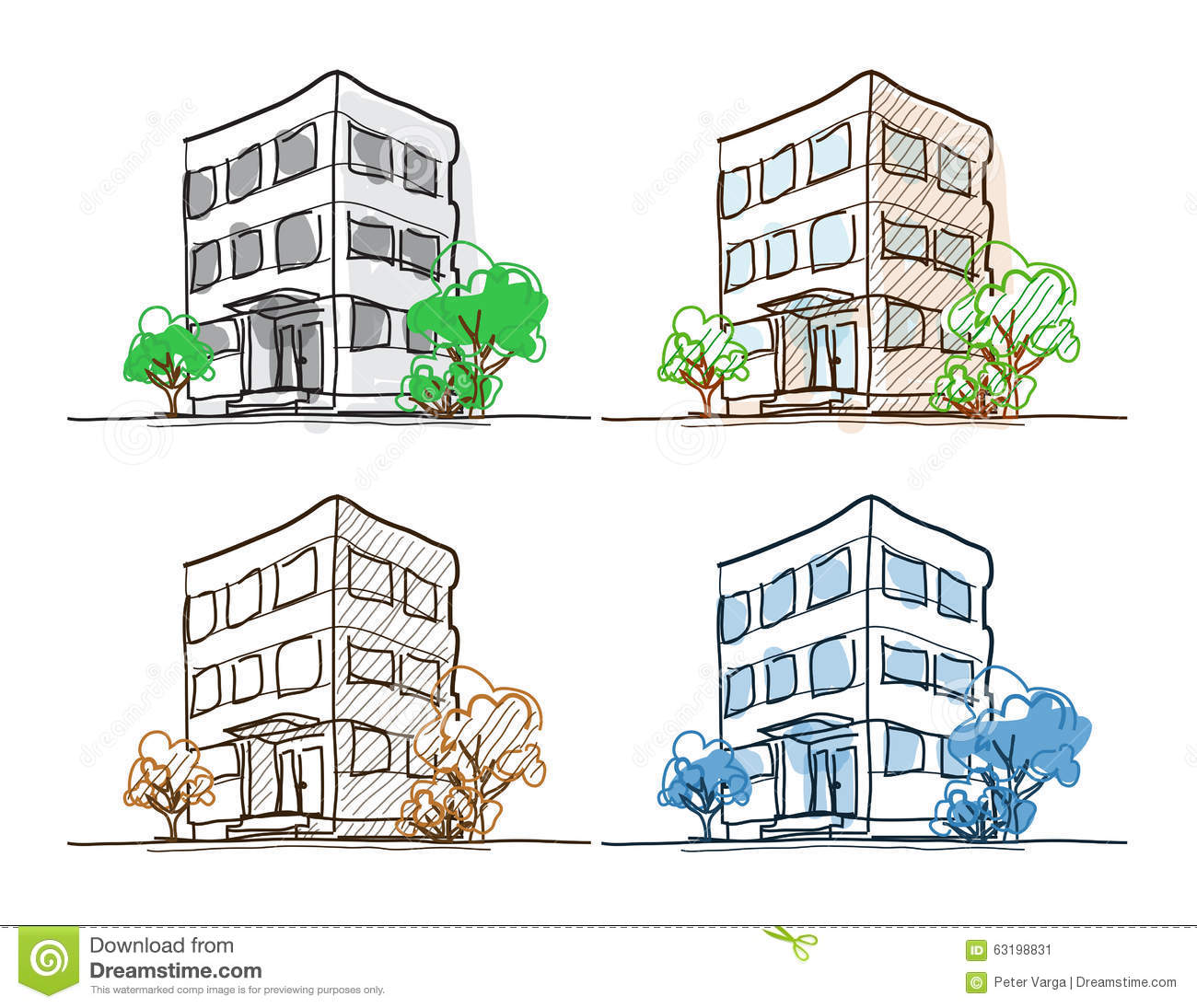 Four Outline Building Freehand Drawings Doodle Sketch With Shading And