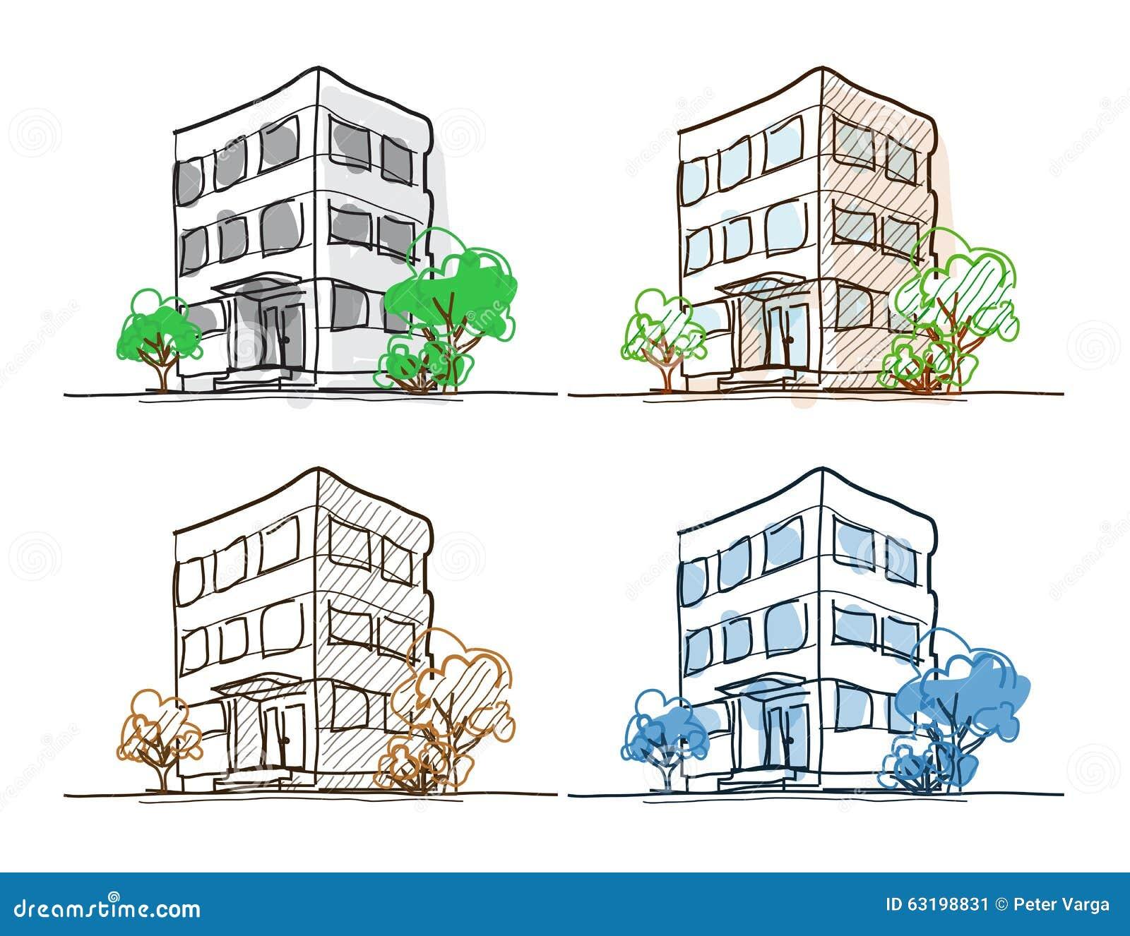 Line Drawing Buildings : Cartoon drawing outline vector buildings doodle stock