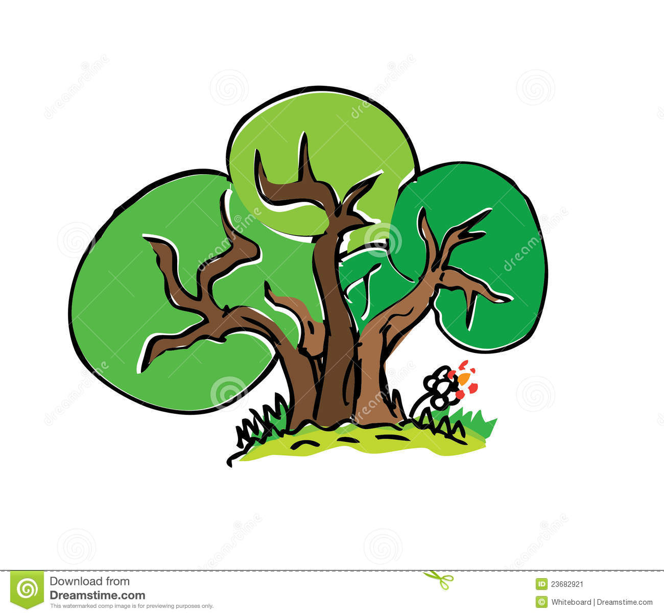 Cartoon Drawing Tree With Color Stock Illustration - Illustration of ...