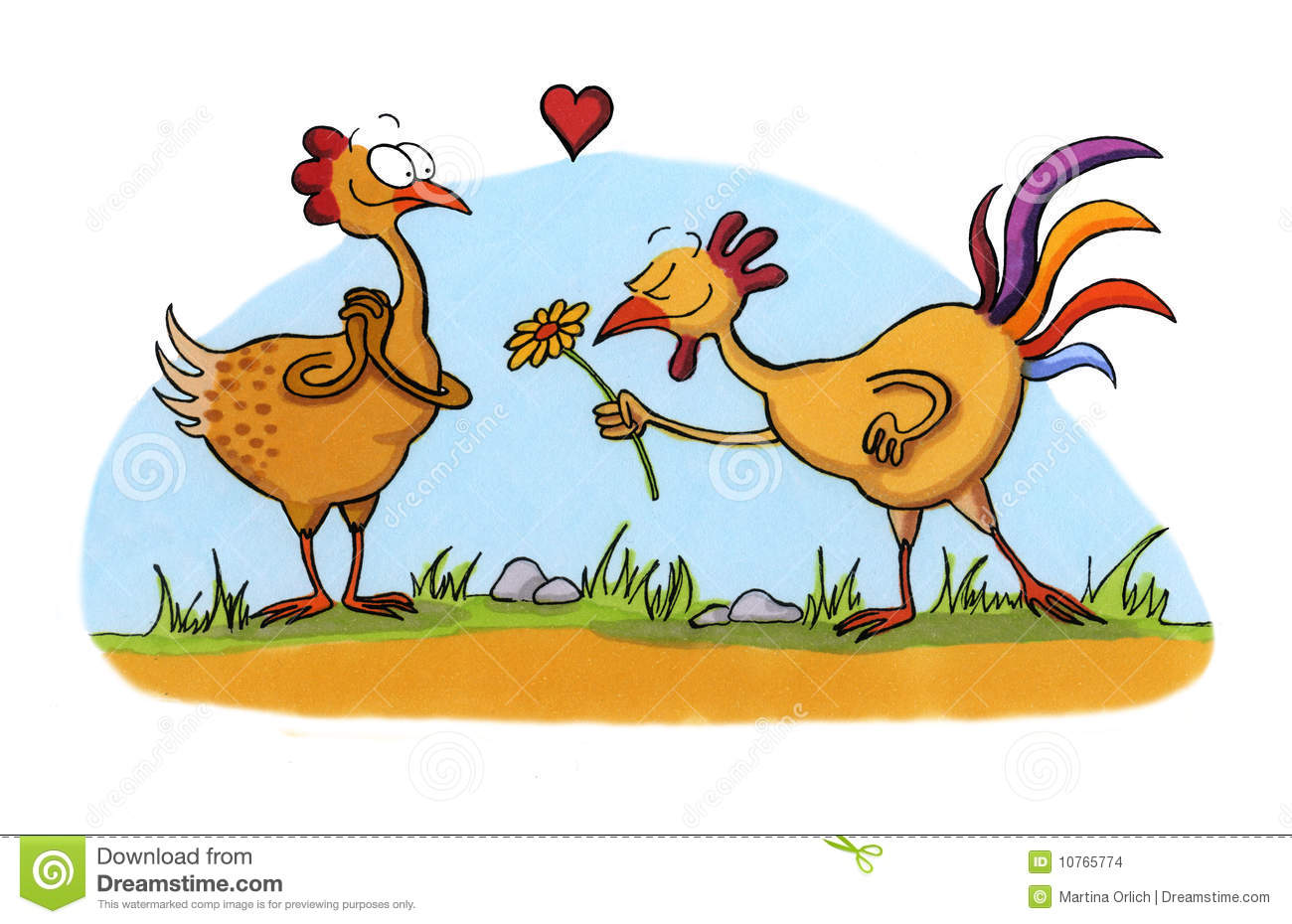 Cartoon Drawing Of Two Chicken In Love Stock Images - Image: 10765774