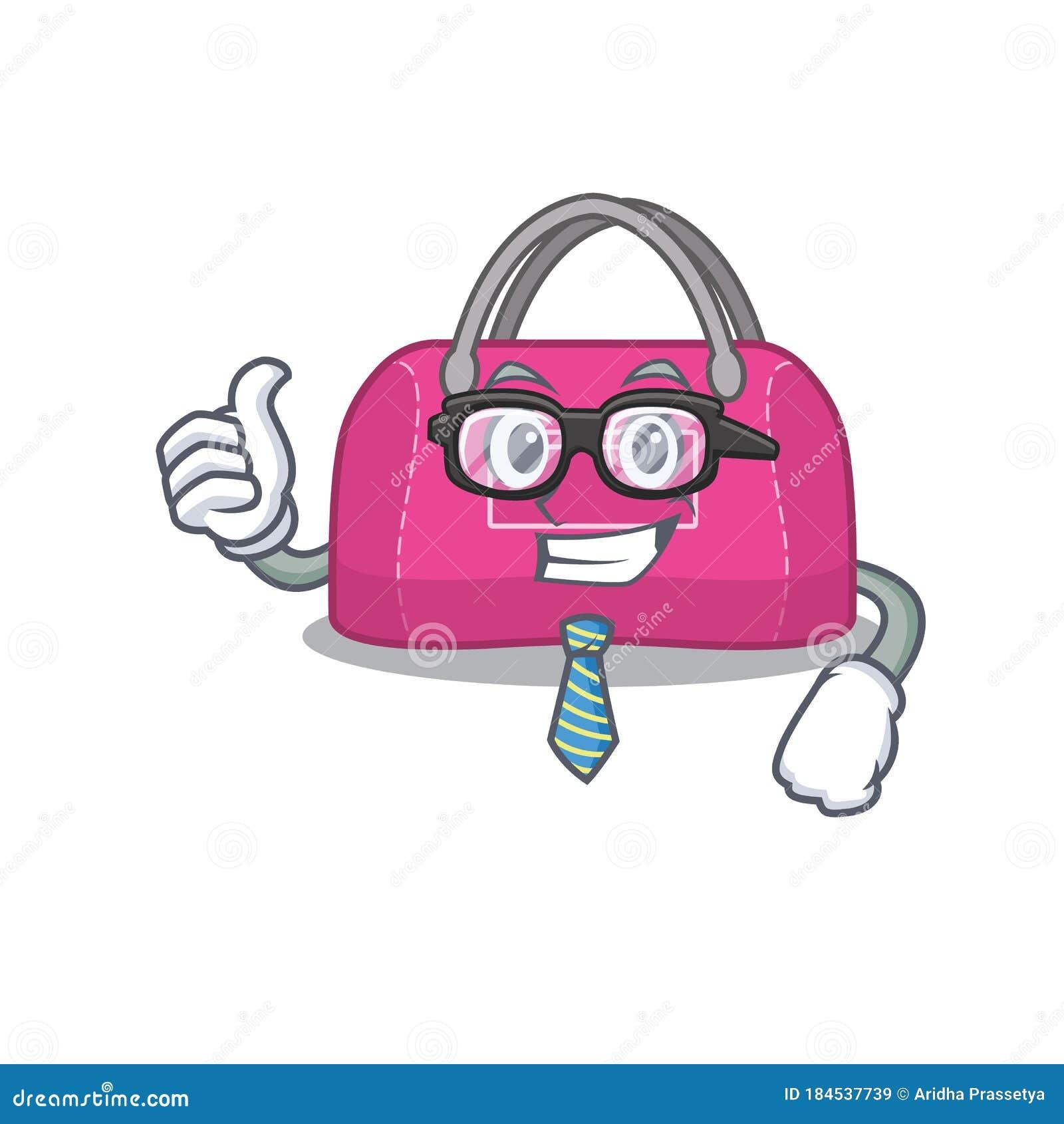 Cartoon Drawing Of Woman Sport Bag Businessman Wearing Glasses And Tie Stock Vector Illustration Of Handbag Hand 184537739
